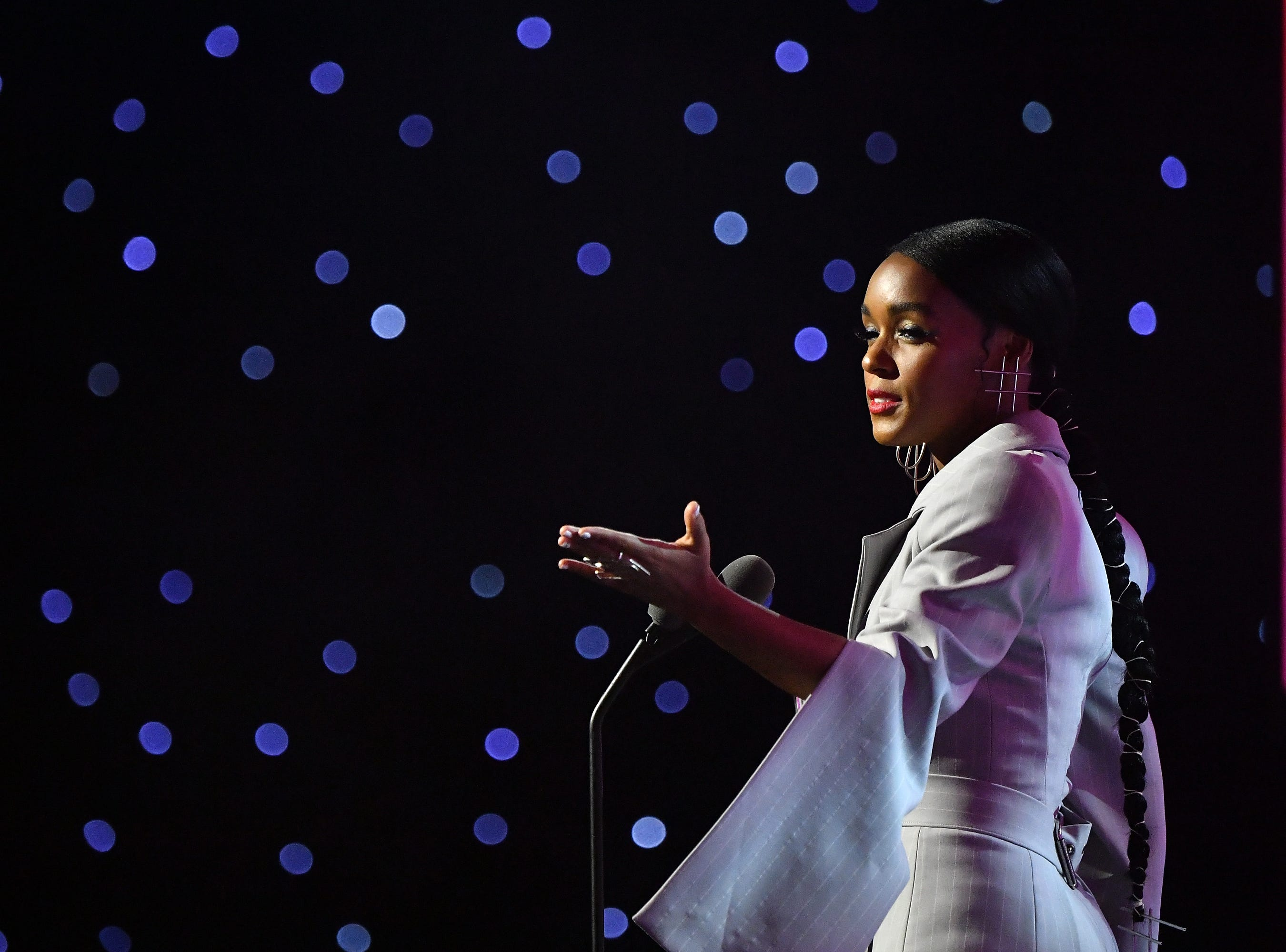 Janelle Monae, also one of the night's honorees, delivered a speech.