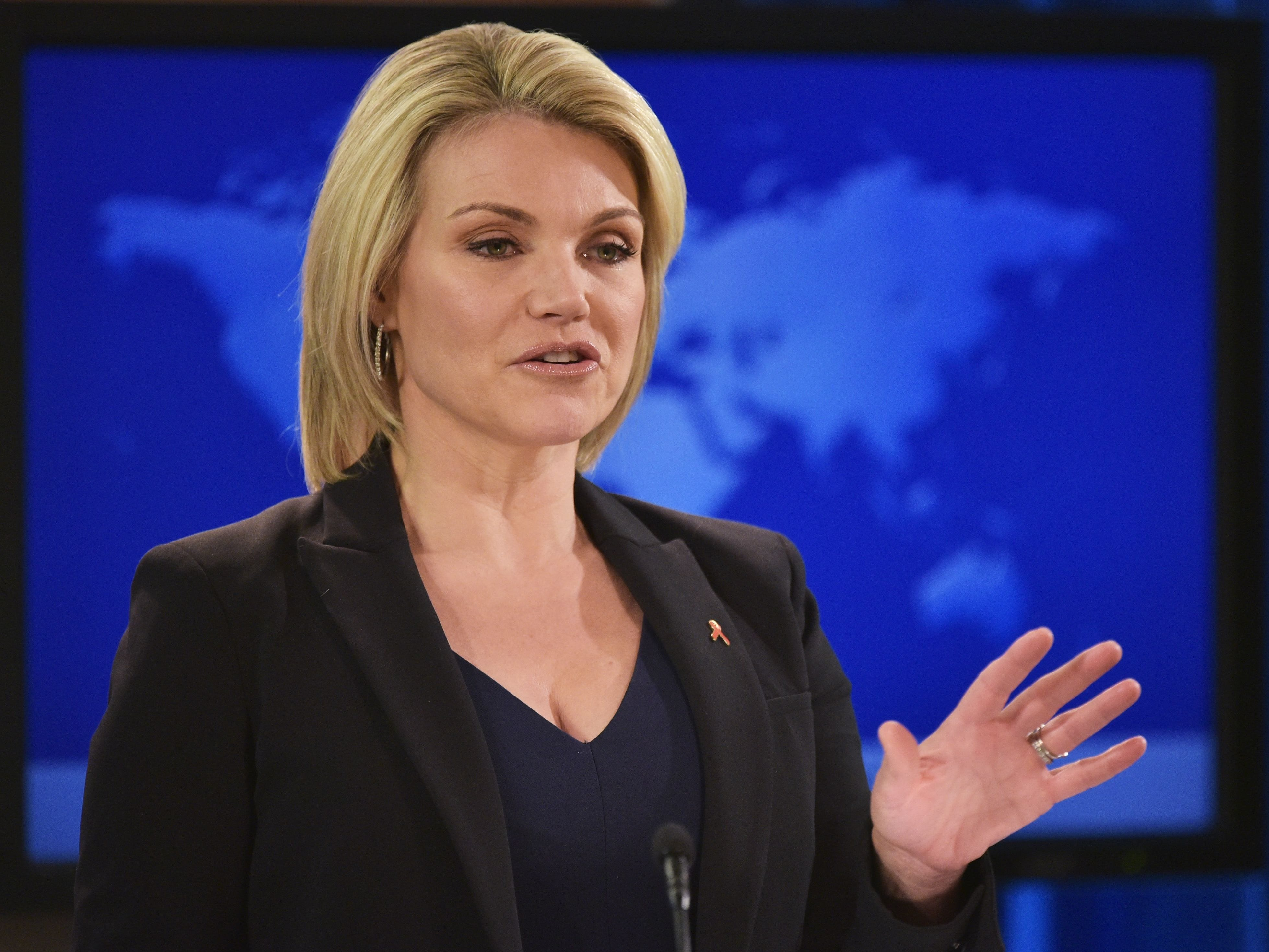 State Department Spokesperson Heather Nauert speaks Nov. 30, 2017, during a briefing at the State Department in Washington.