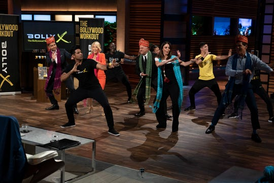 """Guest sharks Rohan Oza and Bethenny Frankel are among those trying out Shahil Patel's Bolly X exercise routine on ABC's """"Shark Tank."""""""