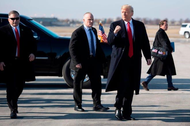 President Donald Trump arrives at Kansas City International Airport in Missouri on Dec. 7, 2018.