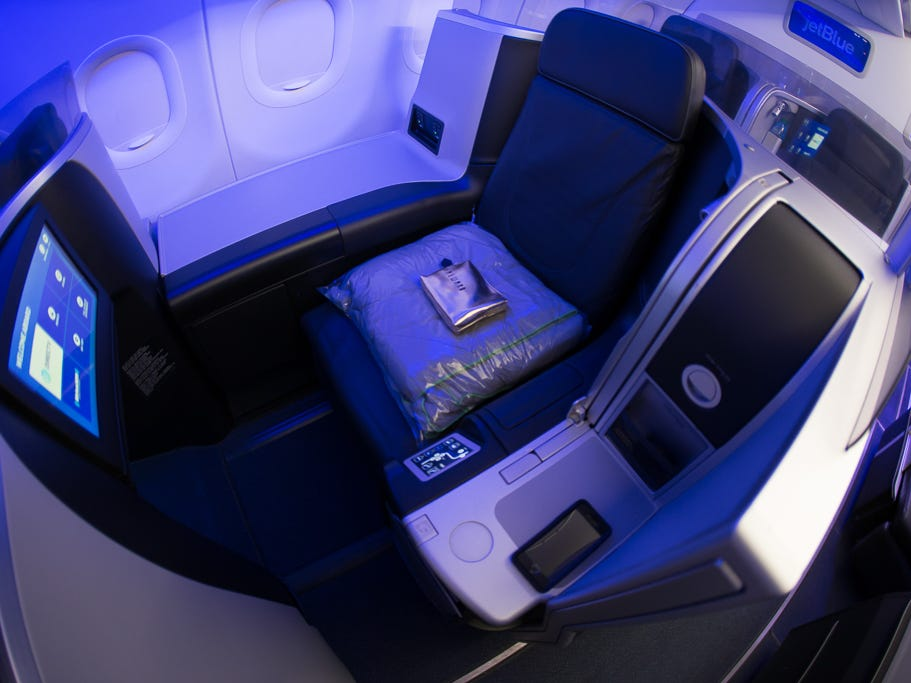 JetBlue's MINT seat still dazzles several years after release, seen on a flight between Boston and Seattle in October 2018.