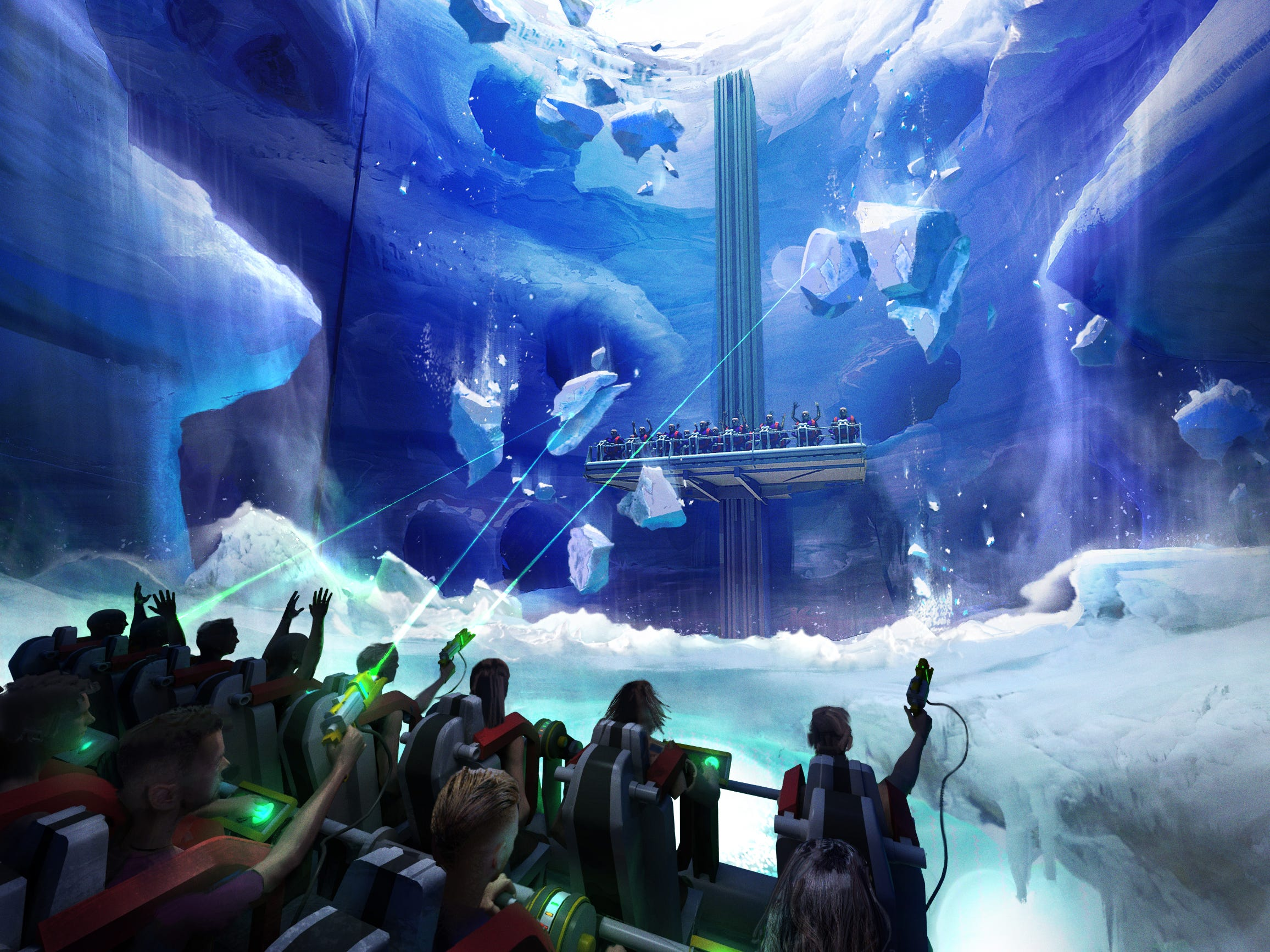 "In one of the three ""Game Changers"" attractions that AVU Designwerks and Framestore have brainstormed together, passengers aboard a pair of drop-tower rides would face one another and see media projected onto a transparent screen between them."