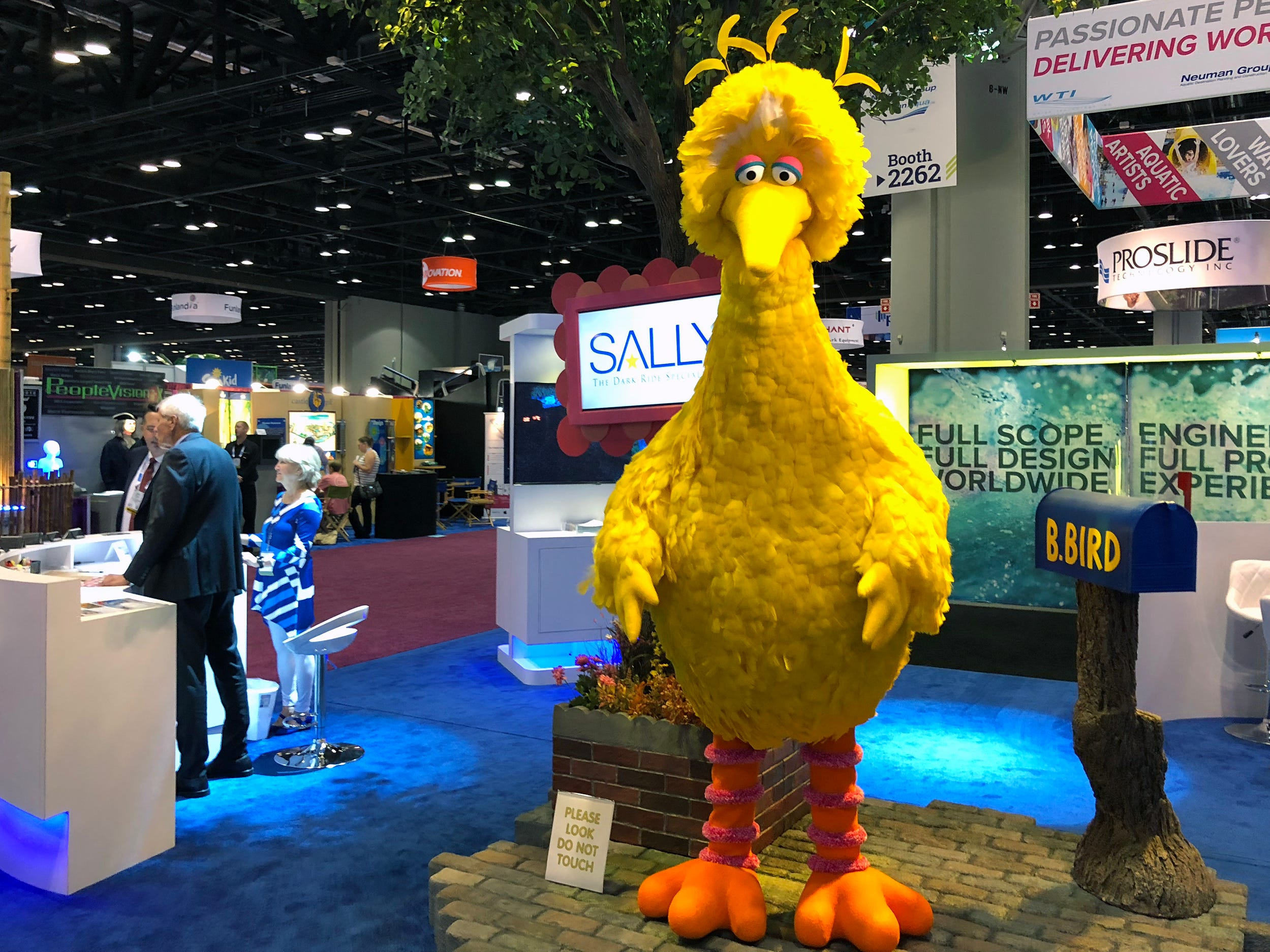 One of the industry's leading designers of interactive dark rides, the Sally Corporation, had an impressive Big Bird animatronic character on display to promote the interactive Sesame Street attraction it is building for a 2019 debut at PortAventura Park in Salou, Spain.
