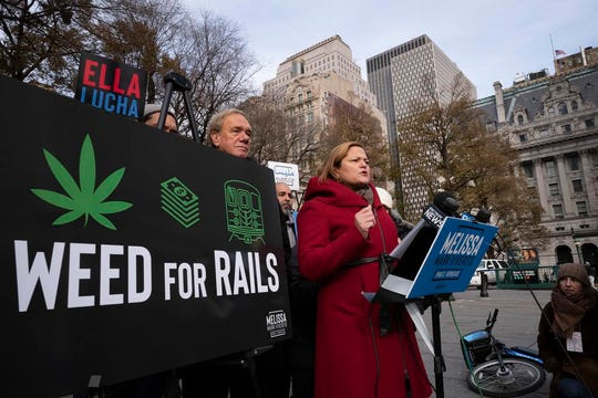 "Melissa Mark-Viverito, a candidate for New York City Public Advocate, speaks at a news conference, Thursday, Dec. 6, 2018, in New York. The former City Council speaker wants to use taxes from legal pot to pay for system repairs. Mark-Viverito announced her ""Weed for Rails"" plan outside the City Hall subway station Thursday. (AP Photo/Mark Lennihan)"