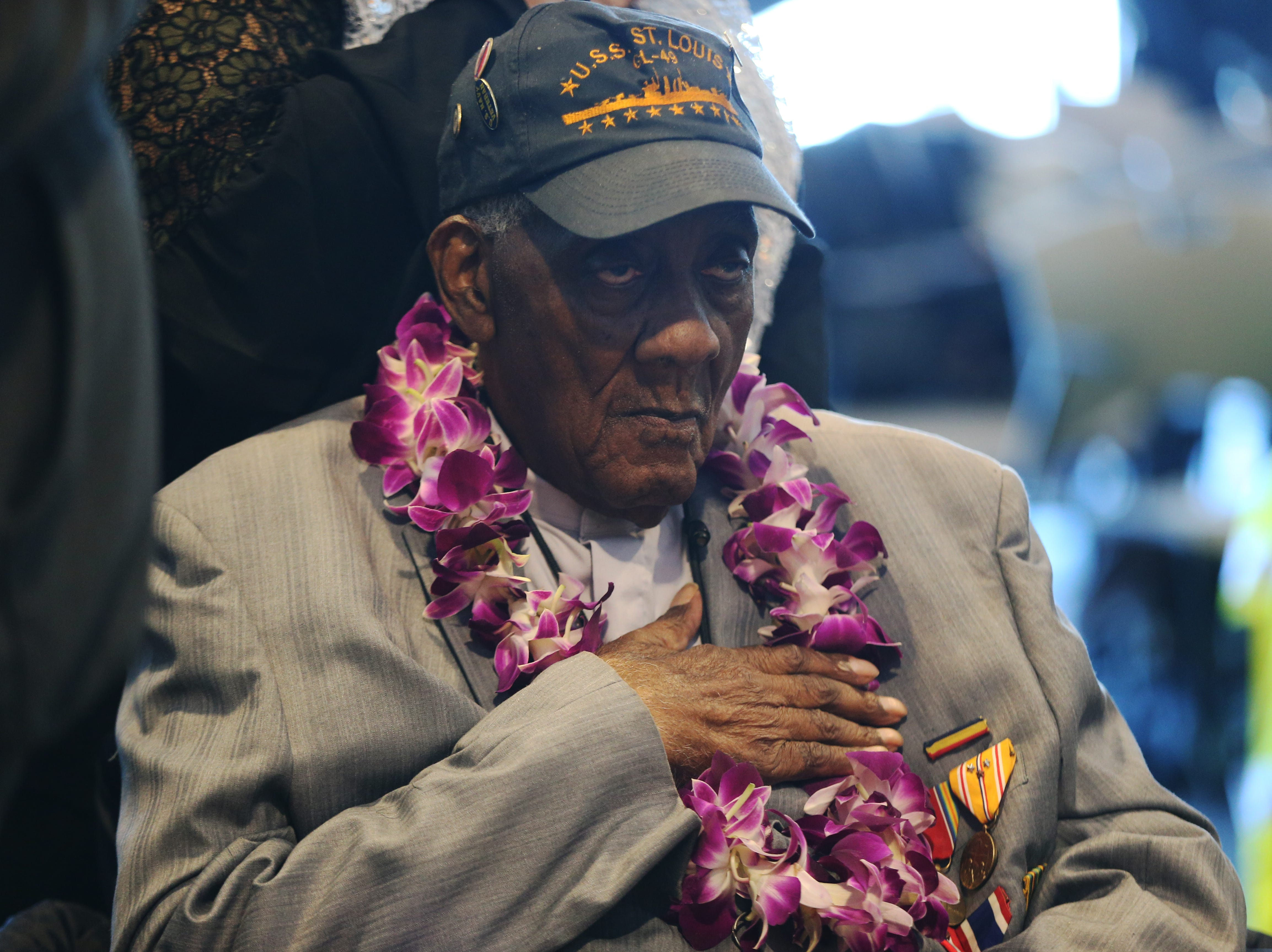 Local Pearl Harbor Reverend James Blakely, 99, attends an event on the USS Intrepid to mark the 77th Anniversary of the attack on Pearl Harbor on December 07, 2018 in New York City.