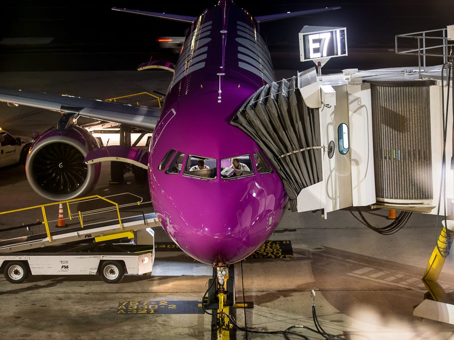 A WOW Air Airbus A321neo pulls into the gate at Boston Logan International Airport in October 2018.