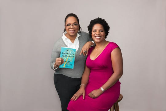 """Author Tayari Jones, right, with Oprah Winfrey, who chose Jones' novel """"An American Marriage"""" for her book club."""