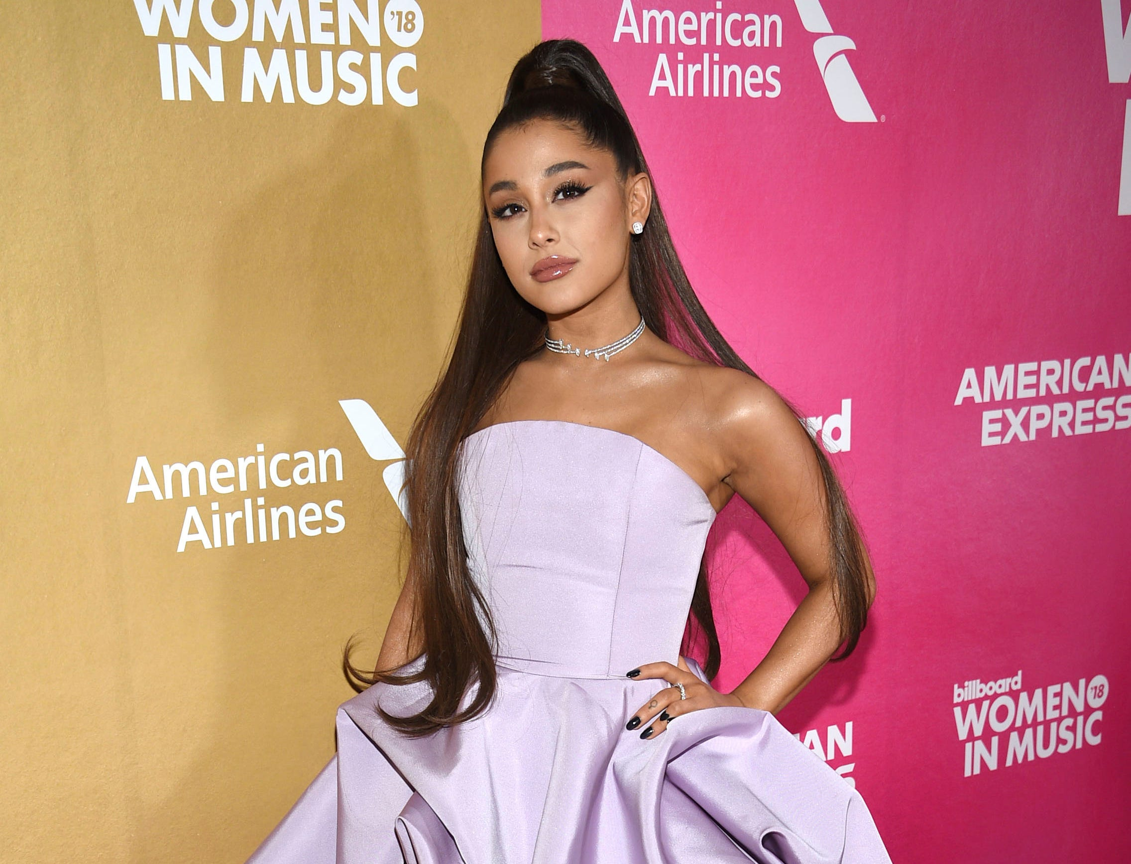 Ariana Grande attends the 13th annual Billboard Women in Music event at Pier 36 on Thursday, Dec. 6, 2018, in New York. (Photo by Evan Agostini/Invision/AP) ORG XMIT: NYBR101