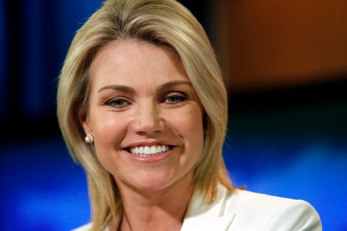 State Department spokeswoman Heather Nauert speaks during a briefing at the State Department in Washington on Aug. 9, 2017.