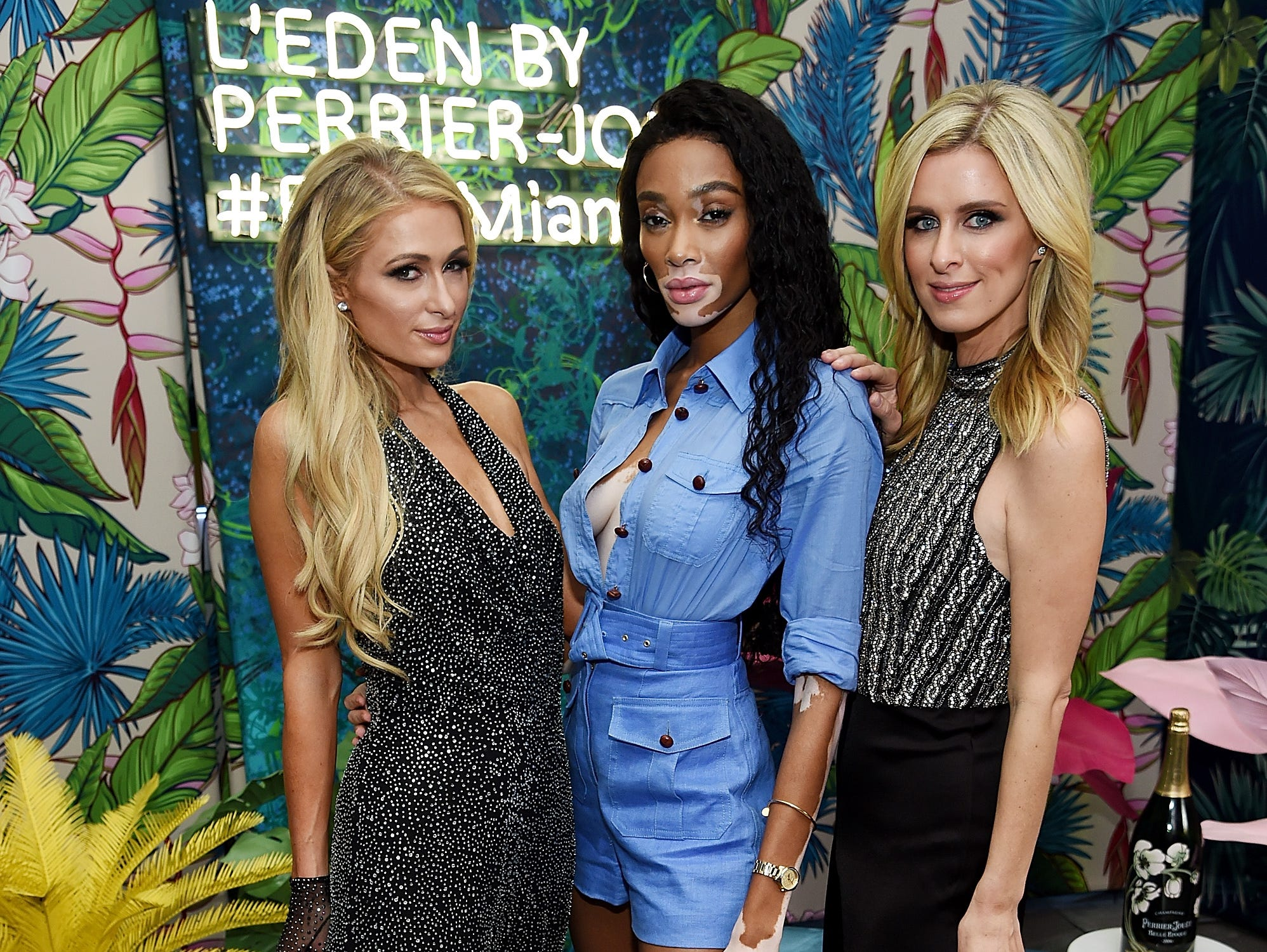 Paris Hilton, Winnie Harlow, and Nicky Hilton partied in an urban jungle for Perrier-Jouet on December 6, 2018 in Miami Beach, Florida.