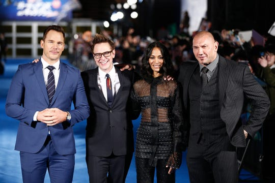 "Old tweets cost director James Gunn, second left, the helm of the third ""Guardians of the Galaxy"" film."