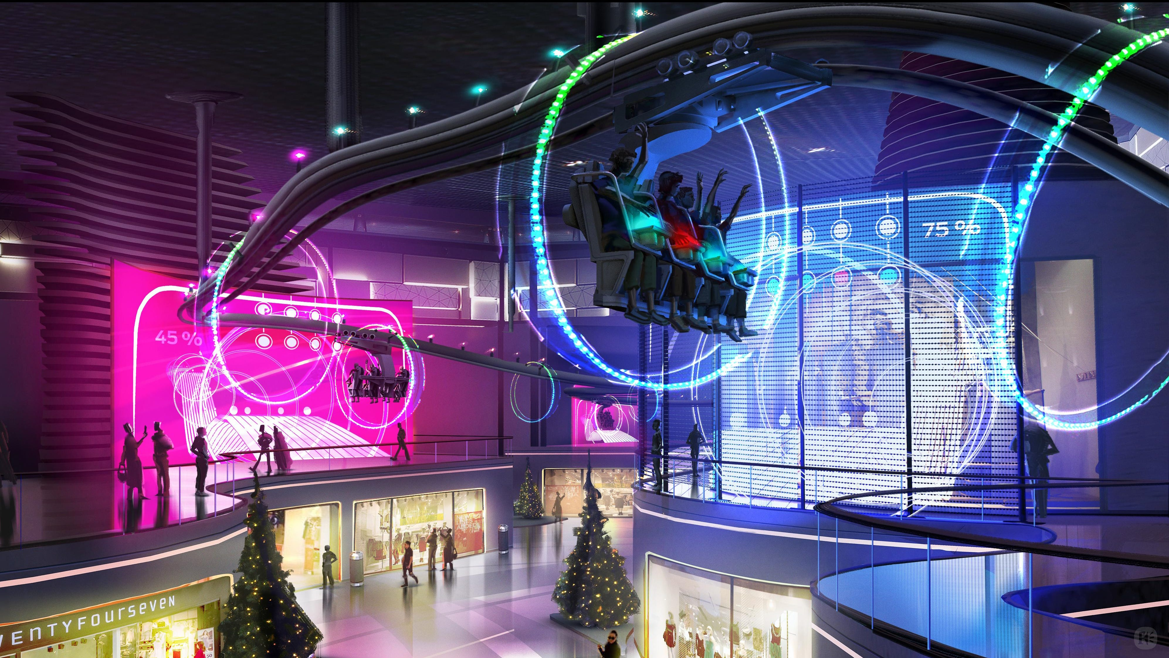 Cavu and Framestore revealed an interactive roller coaster train that could speed up, slow down or turn depending on the actions of the riders. With shopping malls losing anchor stores and other tenants, the ride developers envision their interactive coasters bringing renewed energy and purpose to underutilized, indoor retail spaces.
