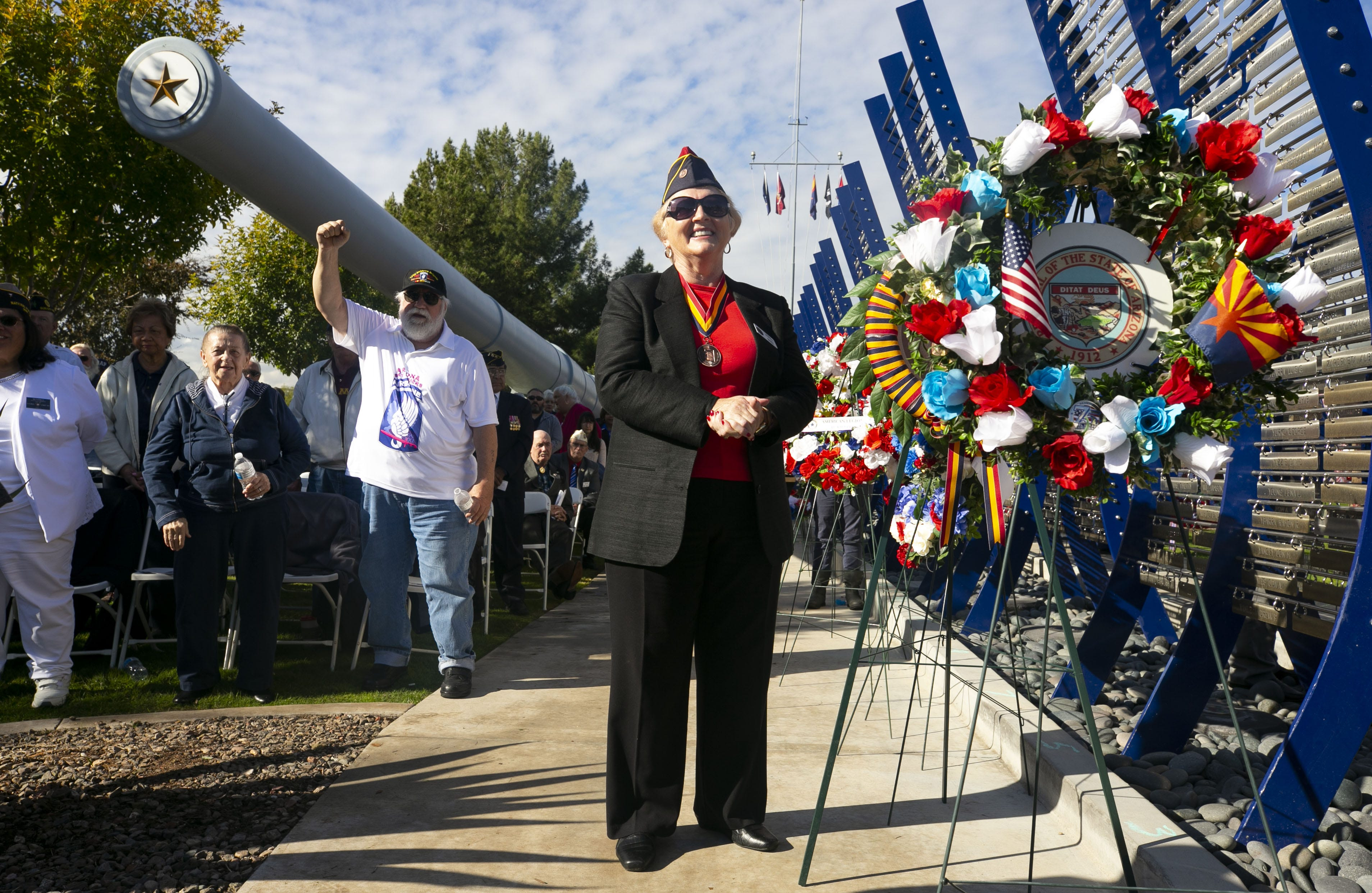 Gerry Berger, vice-president of the Arizona Veterans Hall of Fame, stands during a Pearl Harbor Remembrance Day event at Wesley Bolin Plaza in Phoenix on the 77th anniversary of the attack on Pearl Harbor, on Dec. 7, 2018.