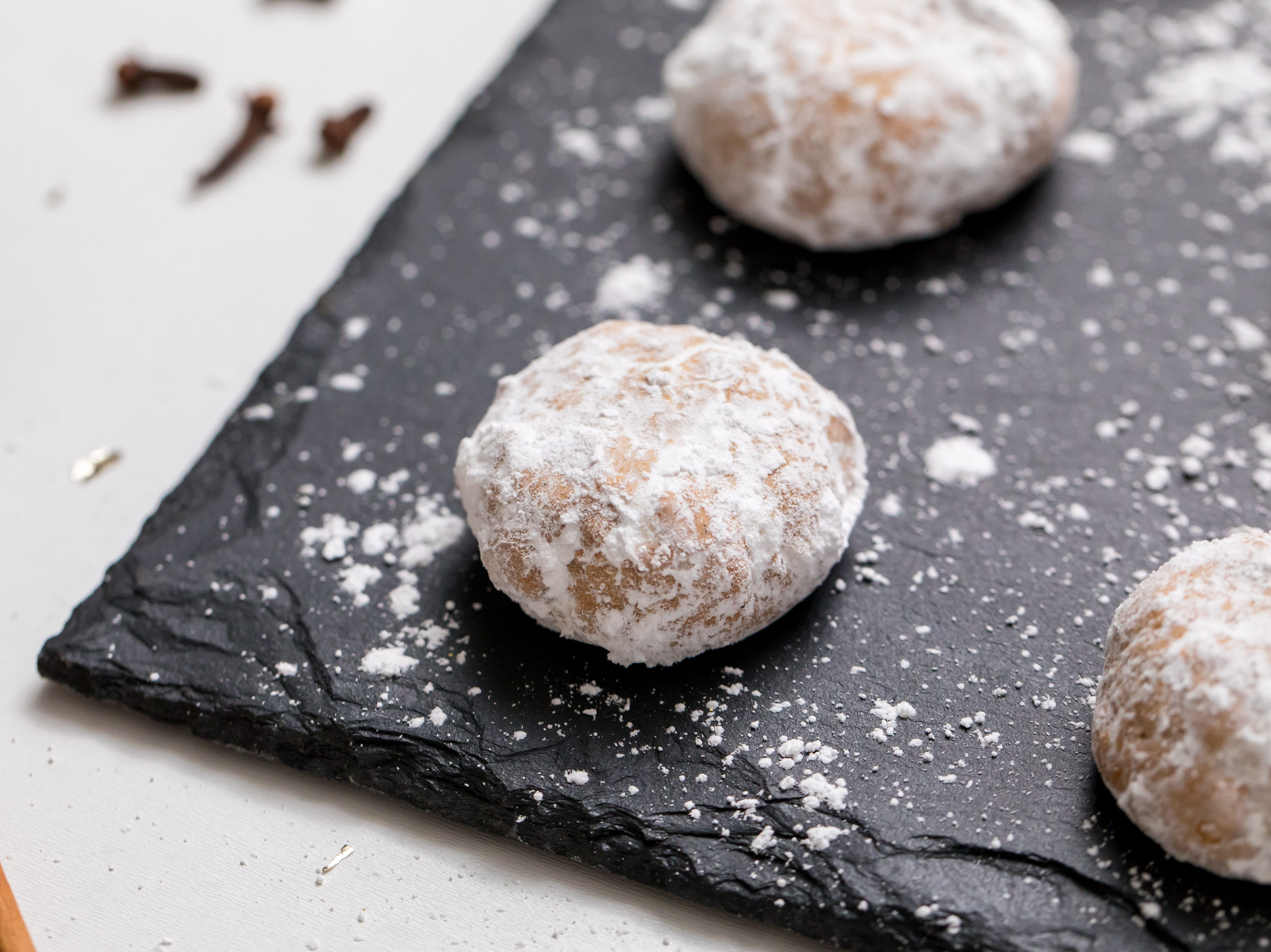 Gluten-free and vegan chai-spiced snowball cookies