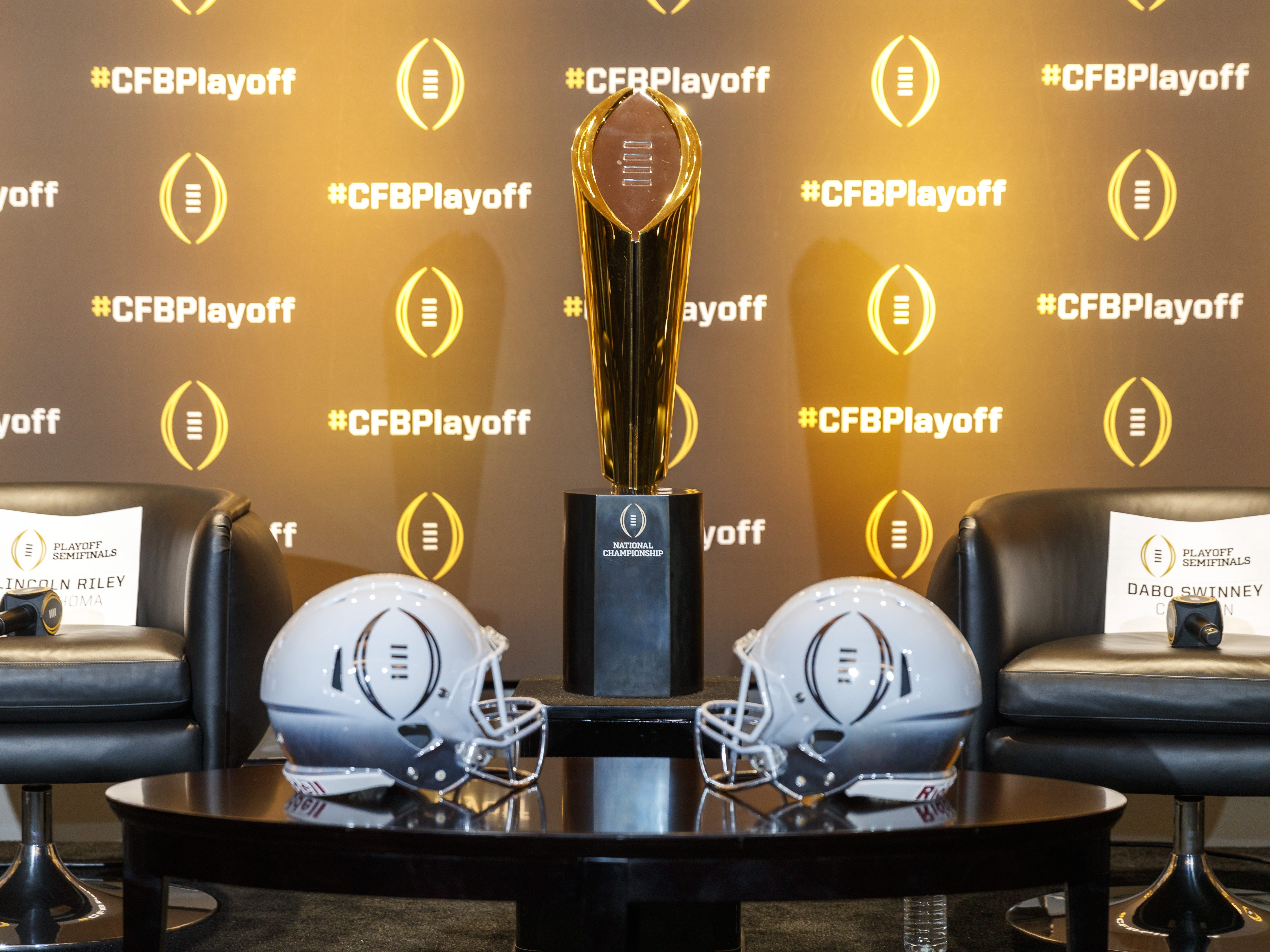 The National Championship trophy is displayed prior to the College Football Playoff Semifinal Head Coaches News Conference on December 6, 2018 in Atlanta.