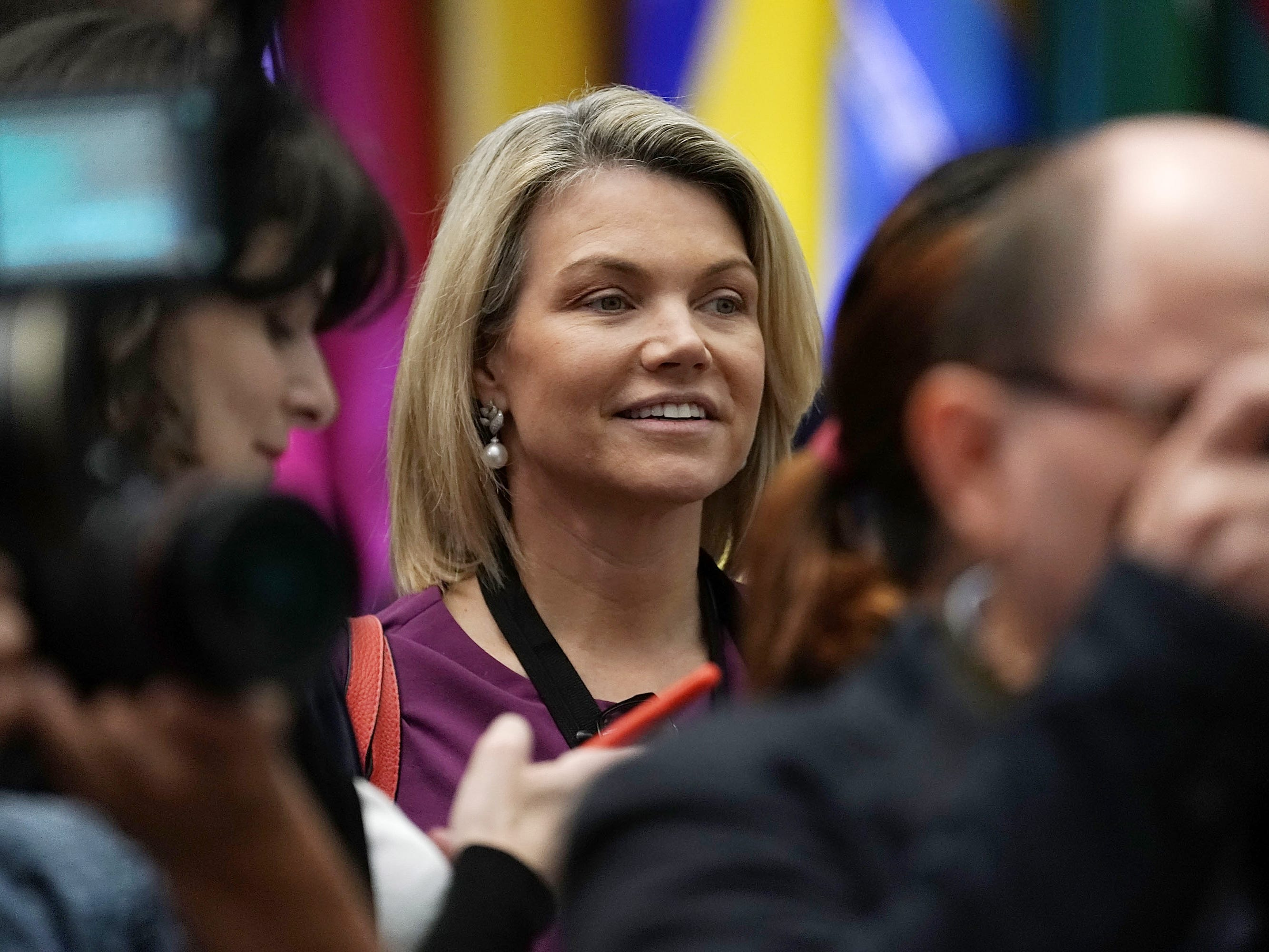 State Department Heather Nauert, center,  during the first-ever Ministerial to Advance Religious Freedom held on July 26, 2018, at the Department of State in Washington.