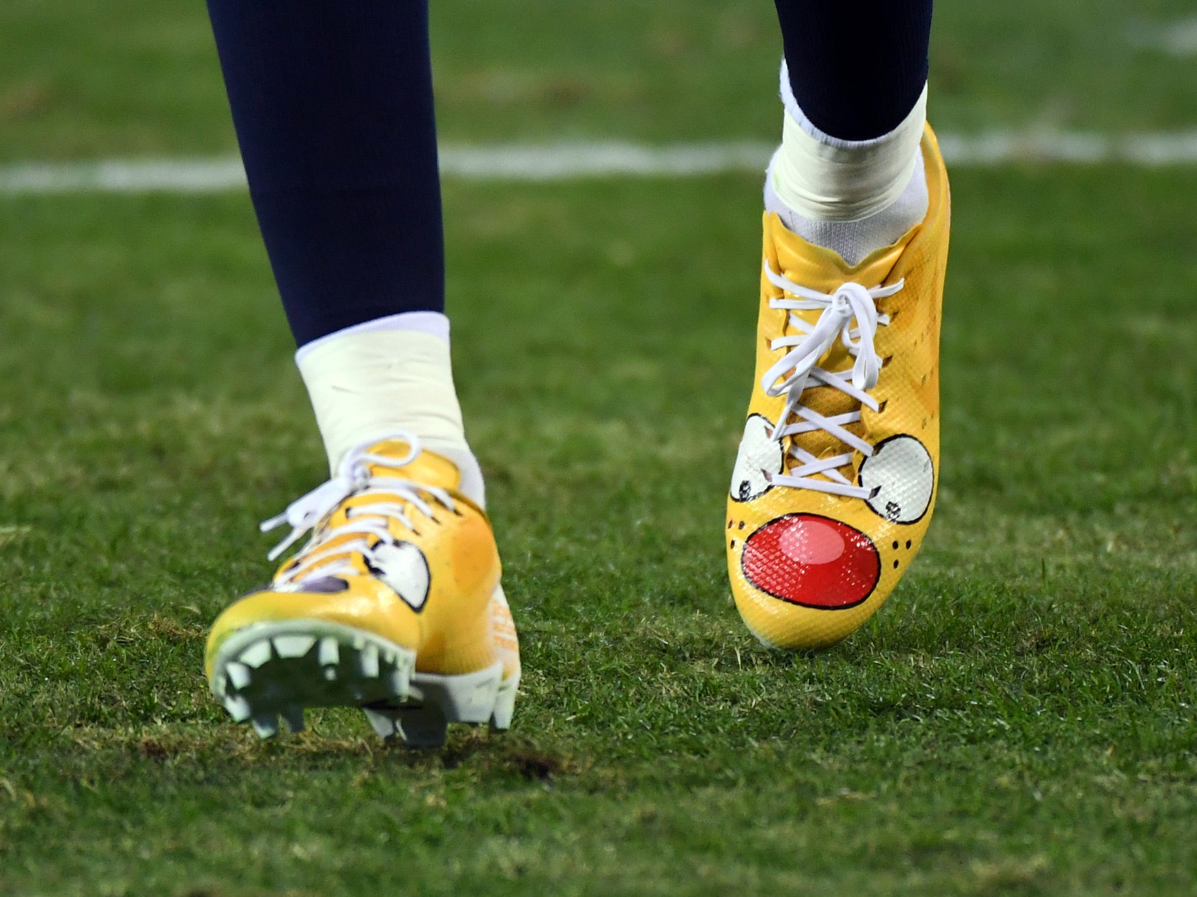 View of cleats worn by Tennessee Titans cornerback Logan Ryan before the game against the Jacksonville Jaguars at Nissan Stadium.