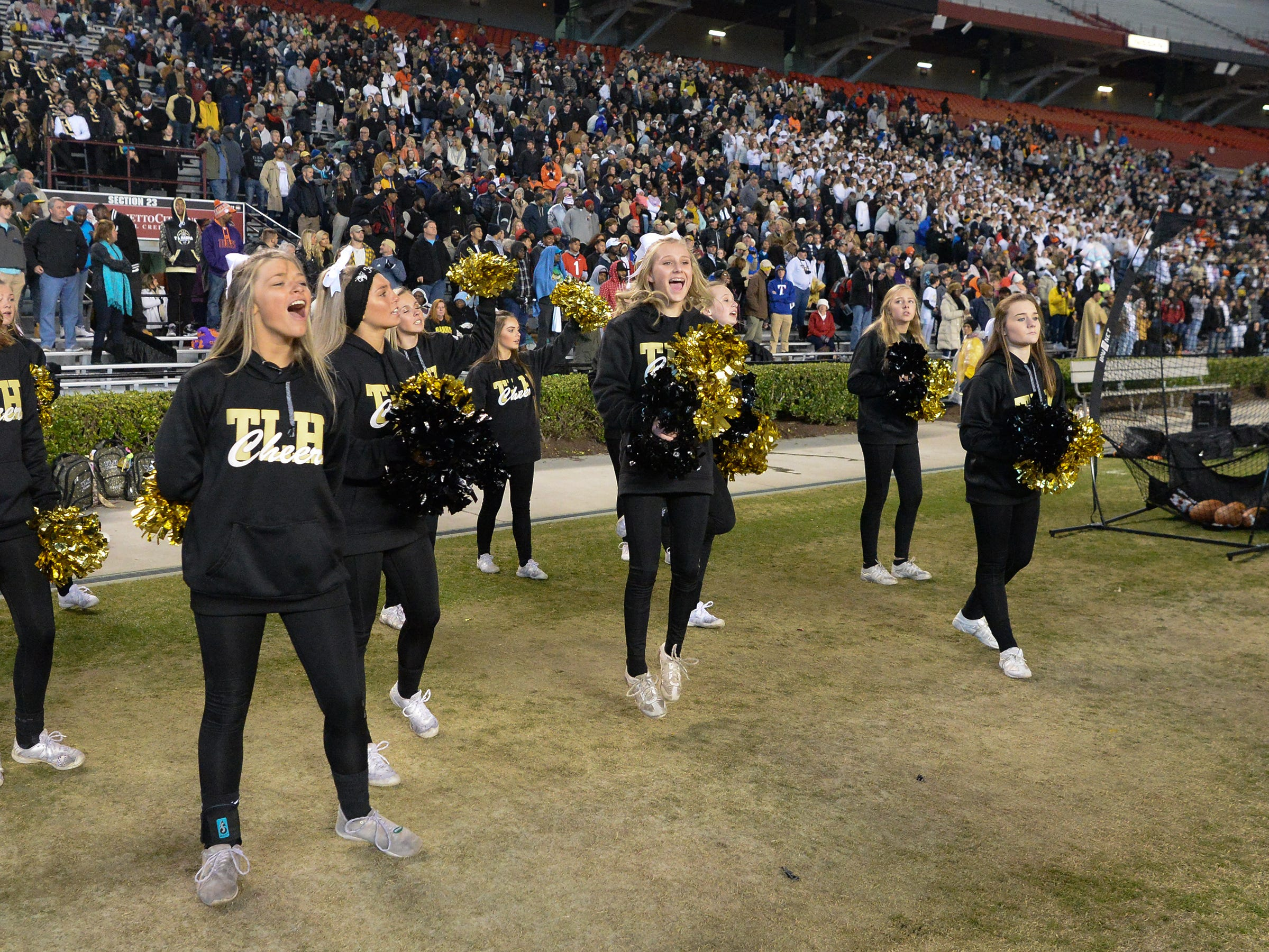 TL Hanna High School cheerleaders during the third quarter of the Class AAAAA state championship game at Williams-Brice Stadium in Columbia Saturday, December 8, 2018.