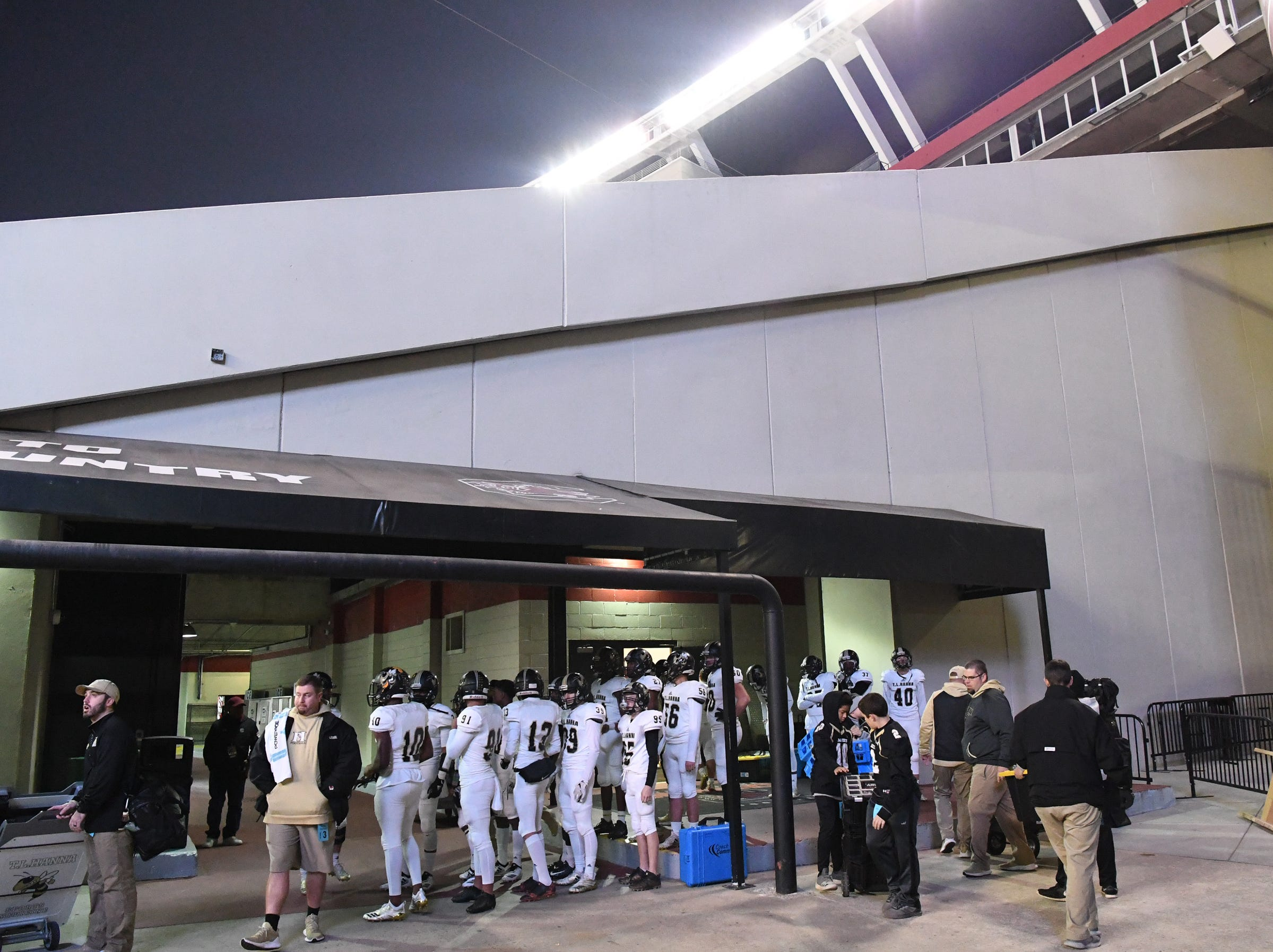 TL Hanna High School players line up to enter the field before the kickoff of the Class AAAAA state championship game at Williams-Brice Stadium in Columbia Saturday, December 8, 2018.