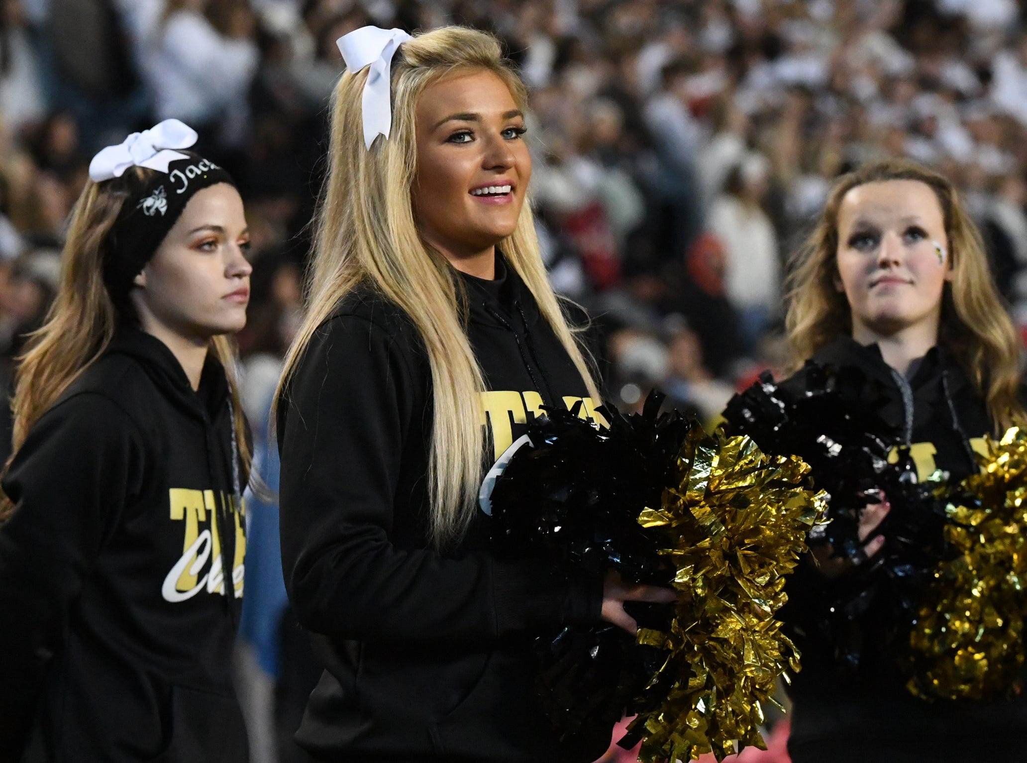 TL Hanna High School cheerleaders for their team playing Dutch Fork High School during the second quarter of the Class AAAAA state championship game at Williams-Brice Stadium in Columbia Saturday, December 8, 2018.