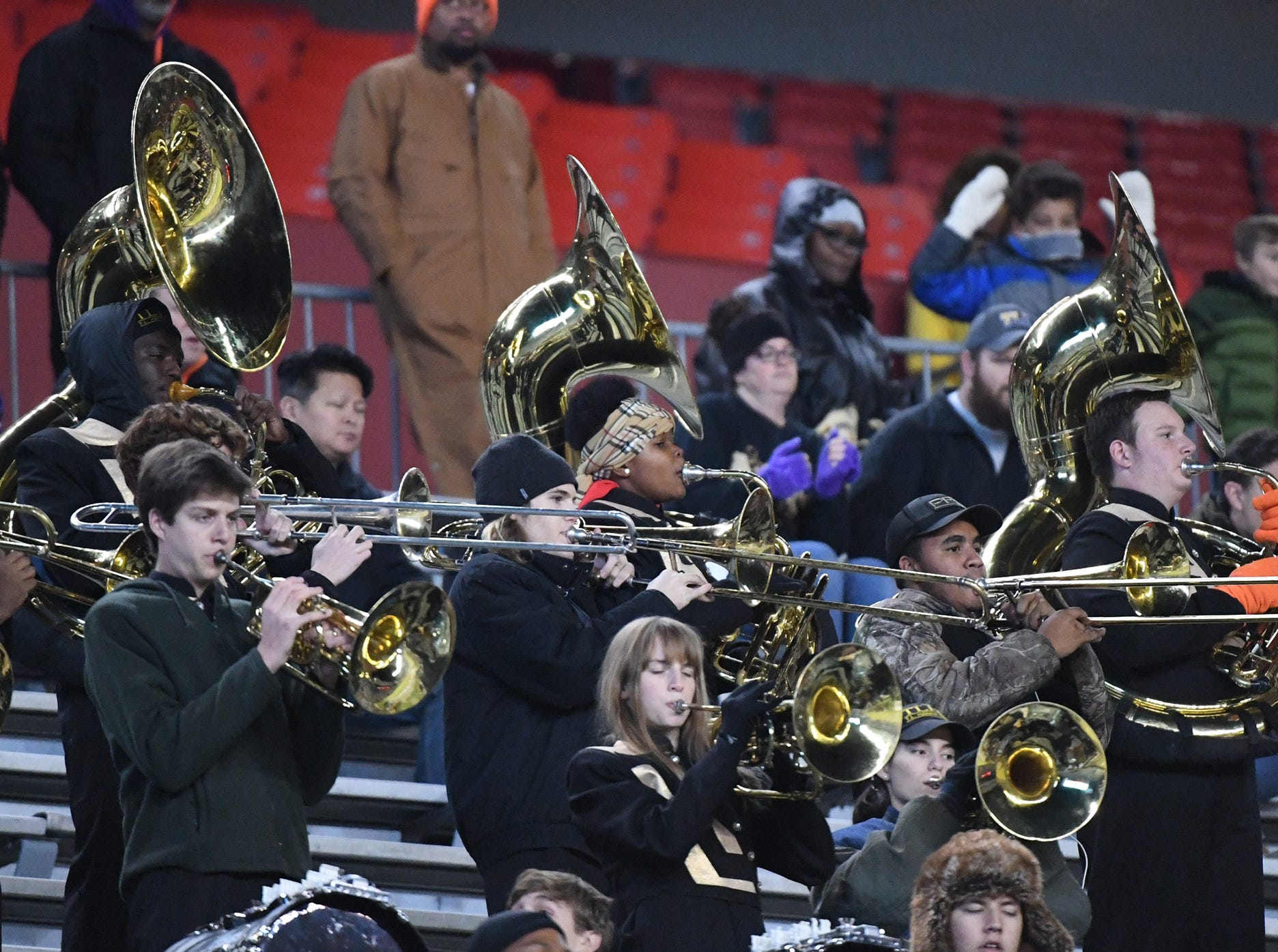TL Hanna High School band plays for their team playing Dutch Fork High School during the second quarter of the Class AAAAA state championship game at Williams-Brice Stadium in Columbia Saturday, December 8, 2018.