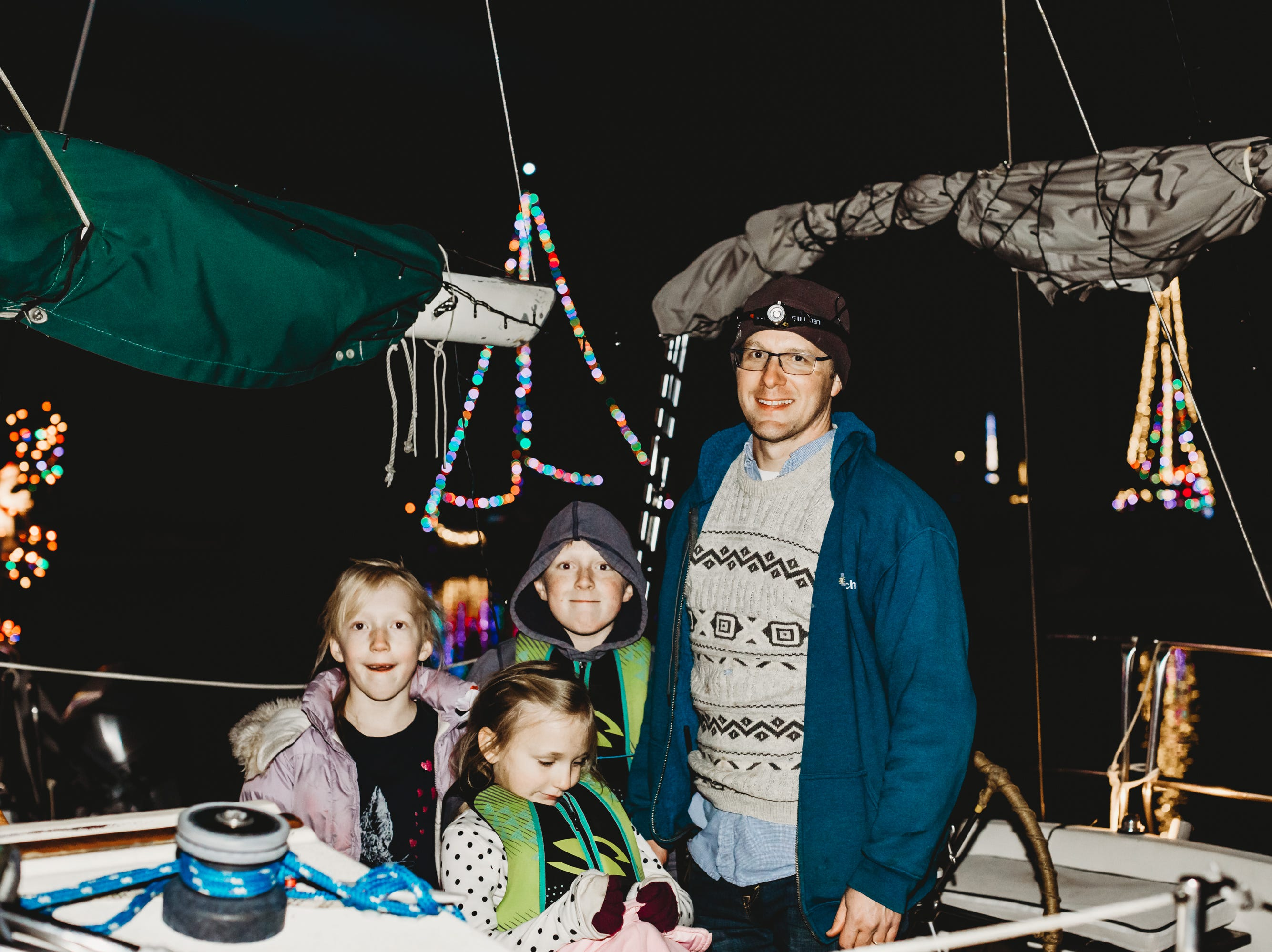 Felicity, Arianna, Daniel and David  cast off to enjoy the lights from the lake.  The Western Carolina Sailing Club held their Cruising Fleet Annual Parade of Lights on Lake Hartwell in Anderson Friday, December 7, 2018.