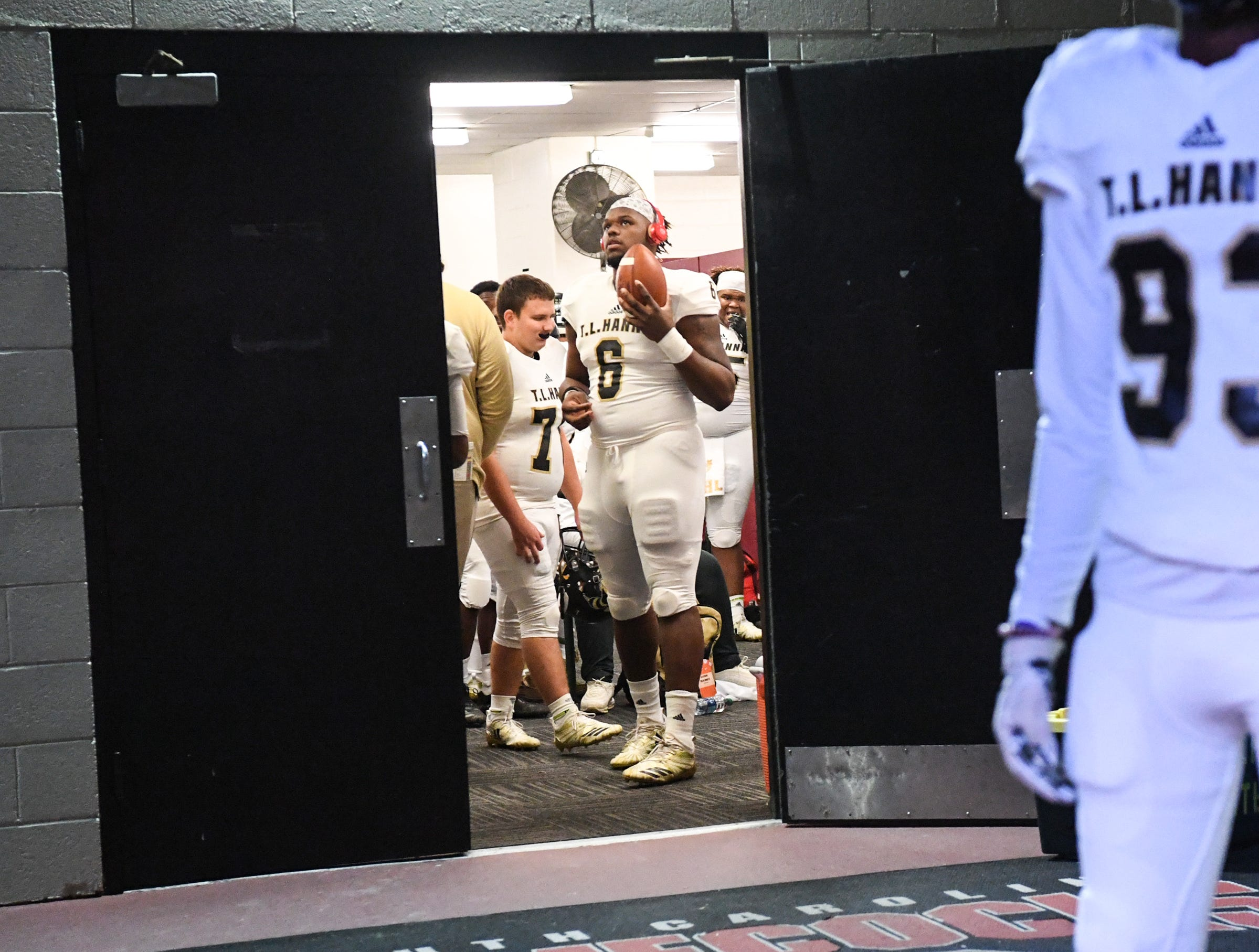 TL Hanna senior Zacch Pickens (6) stands at the door before the kickoff of the Class AAAAA state championship game at Williams-Brice Stadium in Columbia Saturday, December 8, 2018.