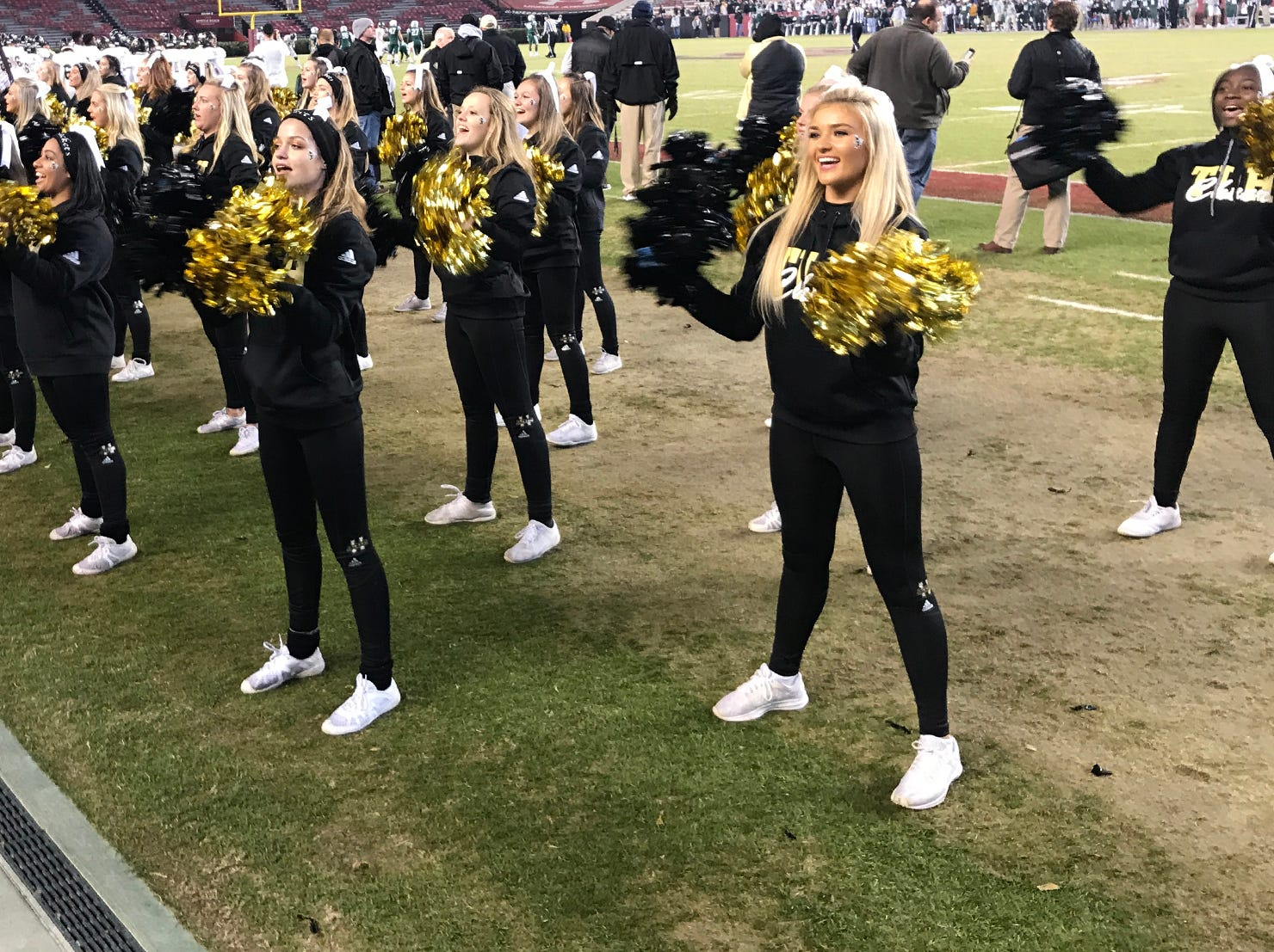 TL Hanna High School cheerleaders during the first quarter of the Class AAAAA state championship game at Williams-Brice Stadium in Columbia Saturday, December 8, 2018.