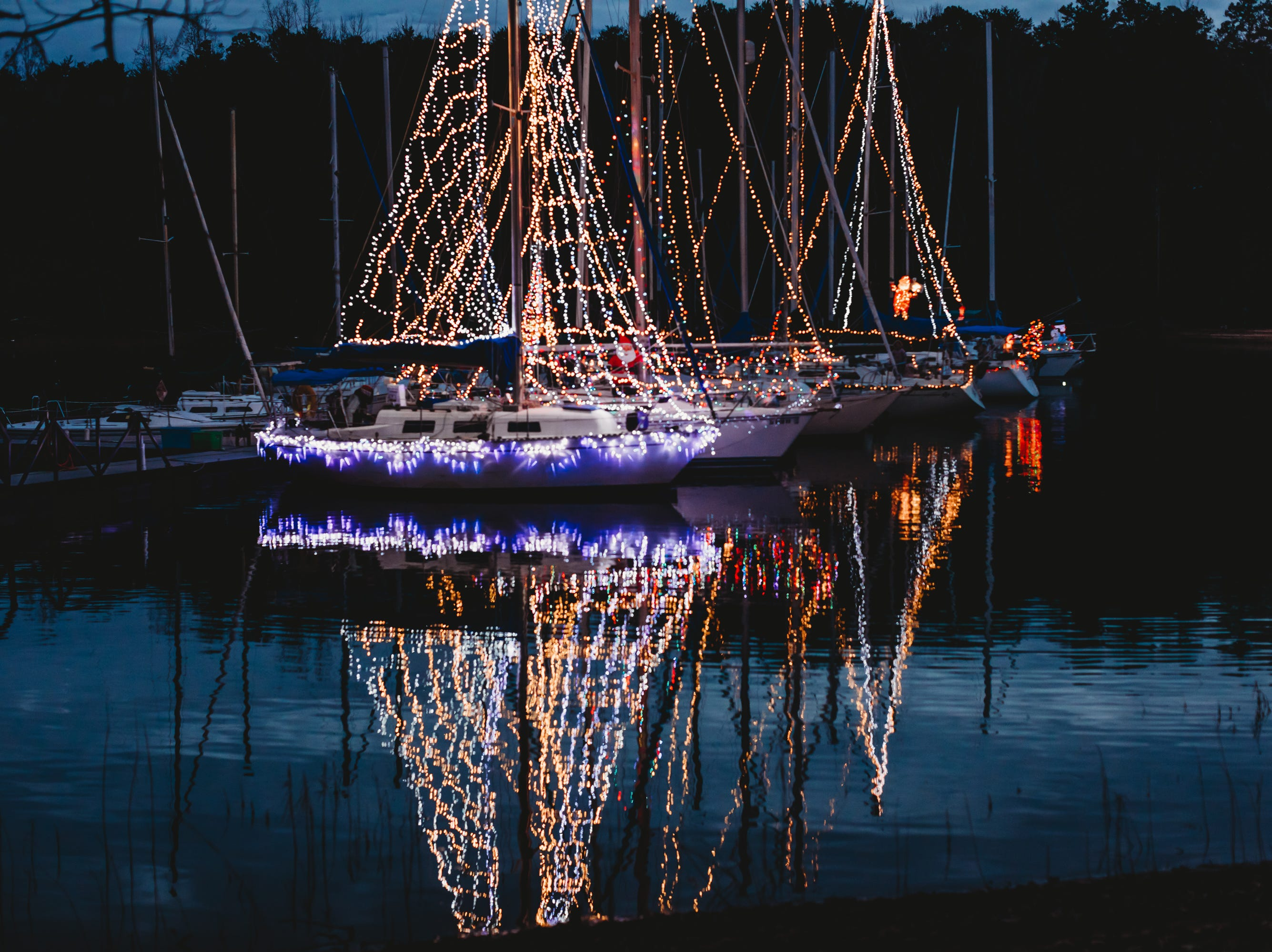 The Western Carolina Sailing Club held their Cruising Fleet Annual Parade of Lights on Lake Hartwell in Anderson Friday, December 7, 2018.