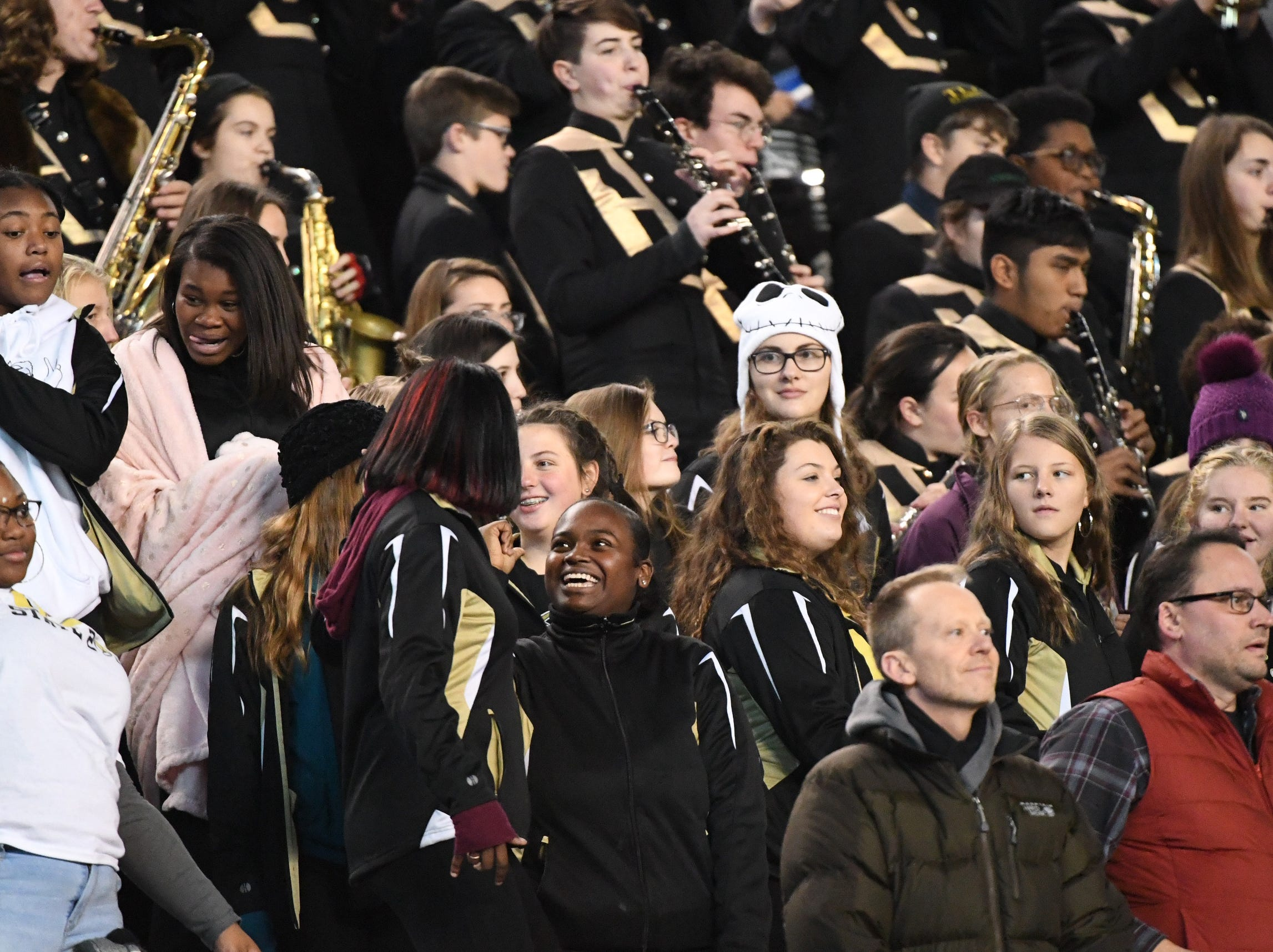 TL Hanna High School band wait to play during the second quarter of the Class AAAAA state championship game at Williams-Brice Stadium in Columbia Saturday, December 8, 2018.
