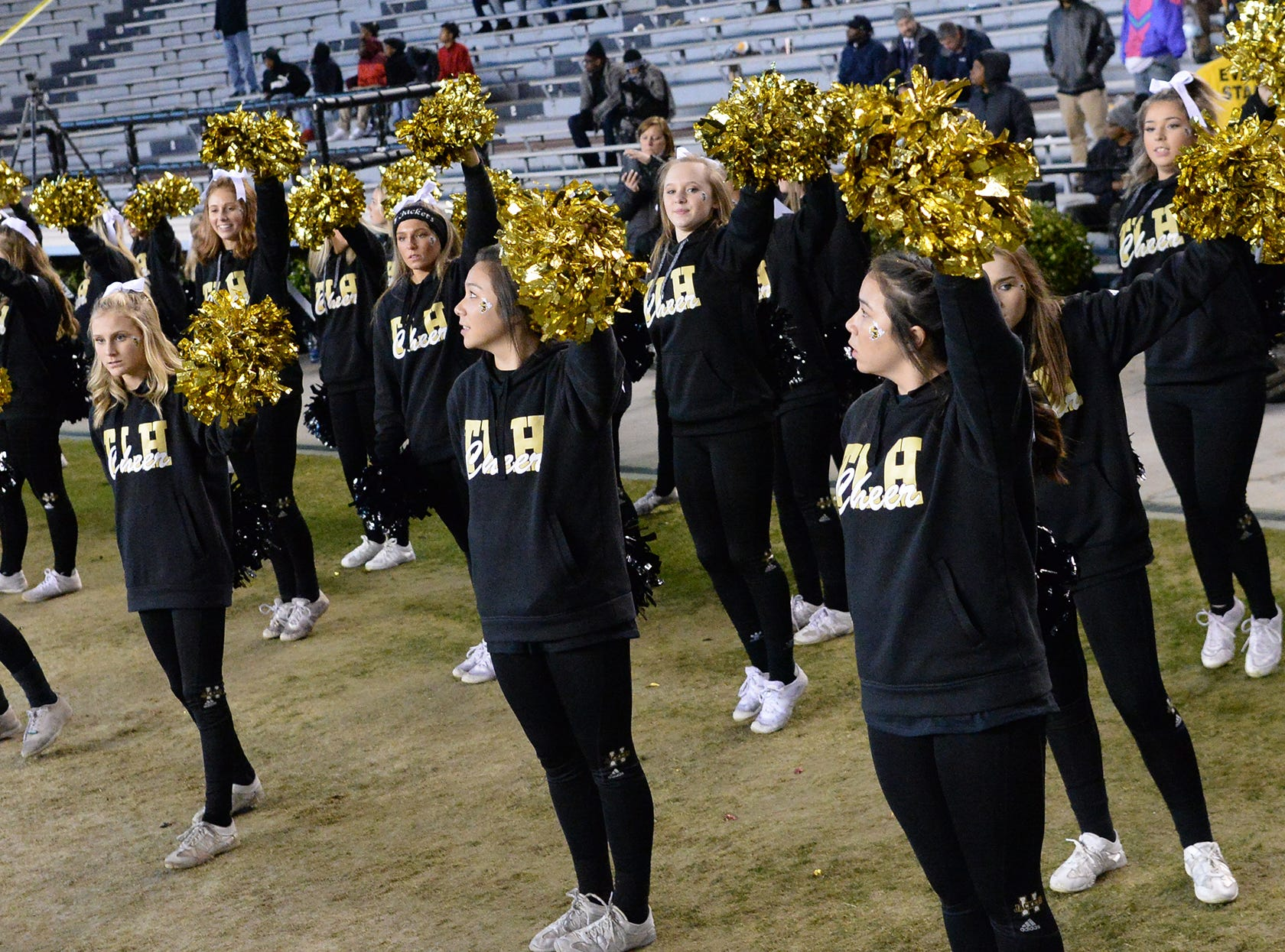 TL Hanna High School cheerleaders during the second quarter of the Class AAAAA state championship game at Williams-Brice Stadium in Columbia Saturday, December 8, 2018.