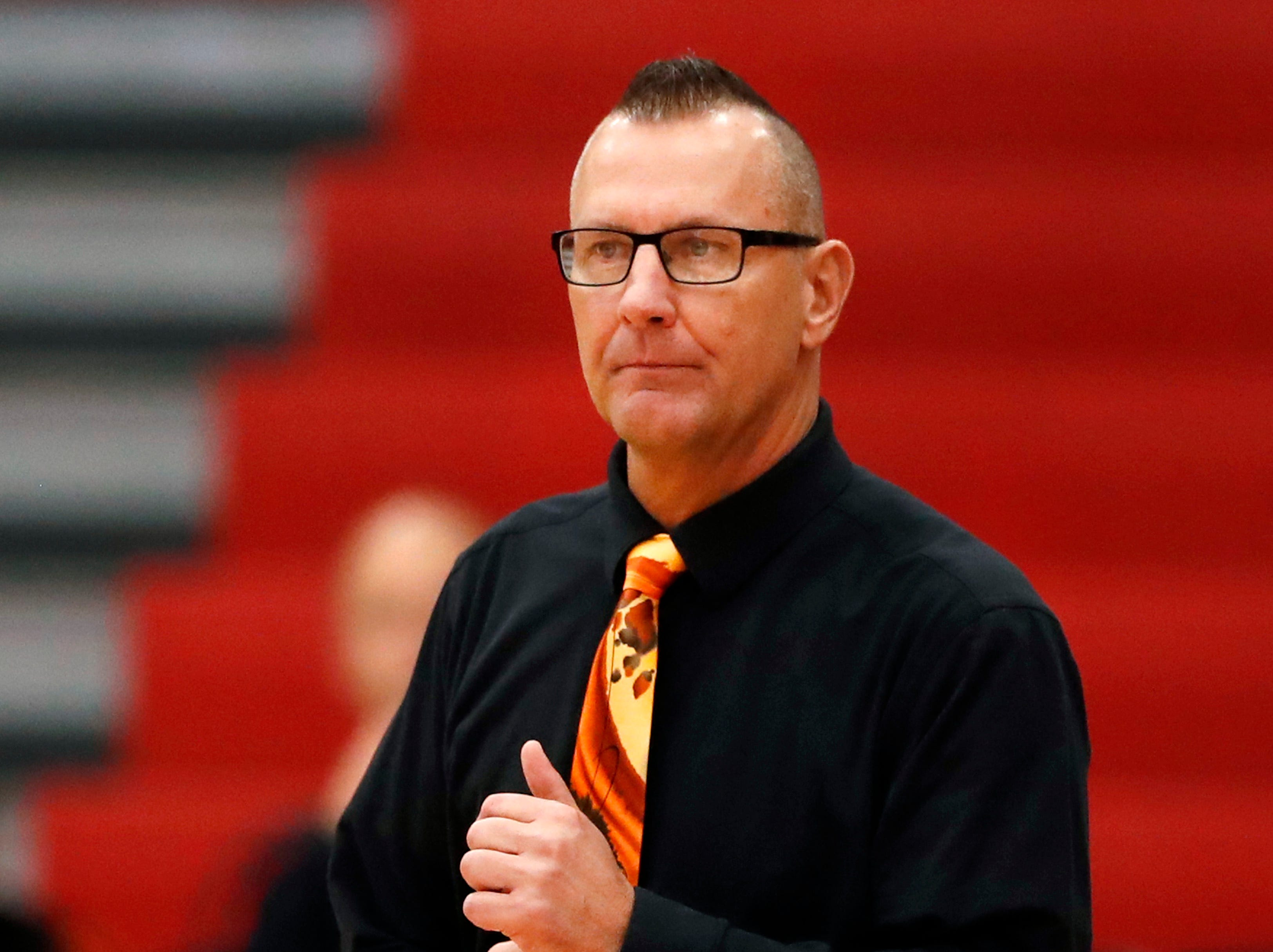 Kaukauna High School's head coach Craig Hawley during their game against Kimberly High School Friday, Dec. 7, 2018, in Kimberly, Wis.