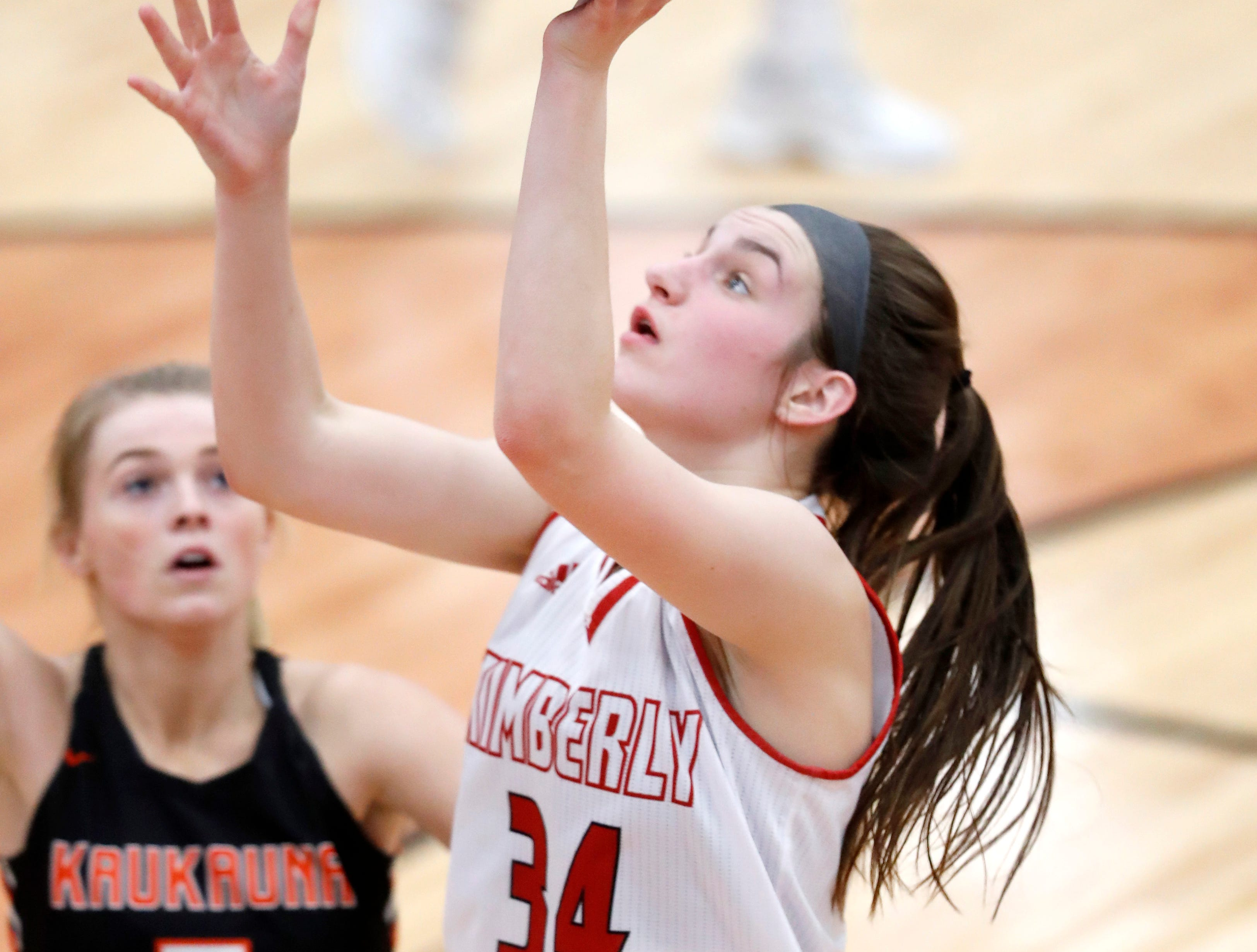 Kimberly High School's Maddy Schreiber goes for a layup against Kaukauna High School Friday, Dec. 7, 2018, in Kimberly, Wis.