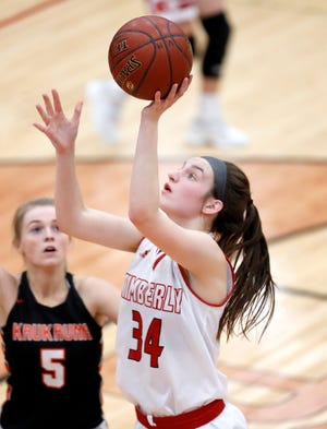 Kimberly's Maddy Schreiber is one of the top players for the Papermakers, the top-ranked team in the G10 composite girls basketball power rankings.
