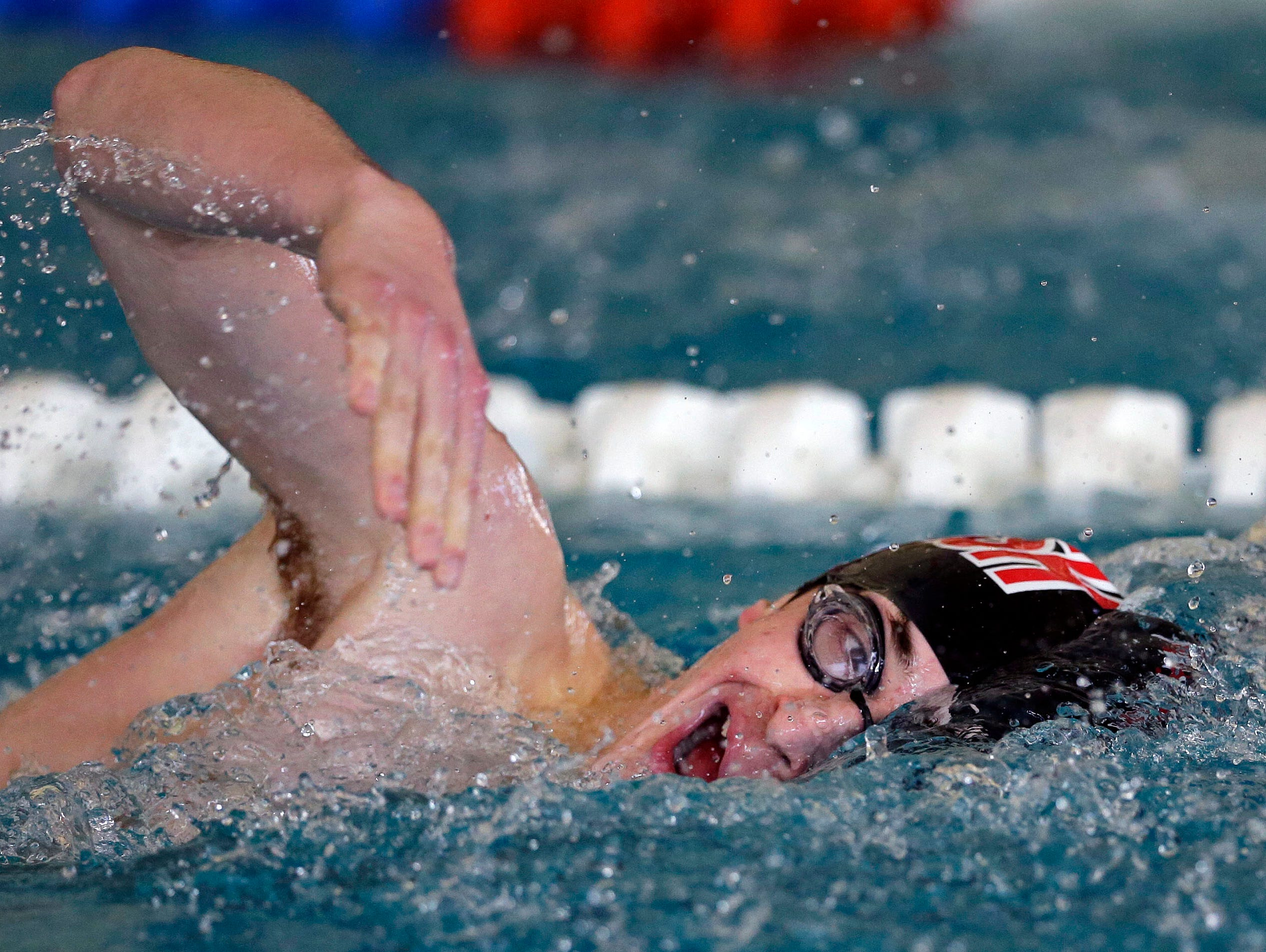 Marco Kurzynski of SPASH swims the final leg of the 400 Meter Medley Relay as the Appleton West Terror Relays Boys Varsity Invitational takes place Saturday, December 8, 2018, at the Zepka Aquatic Center in Appleton, Wis.