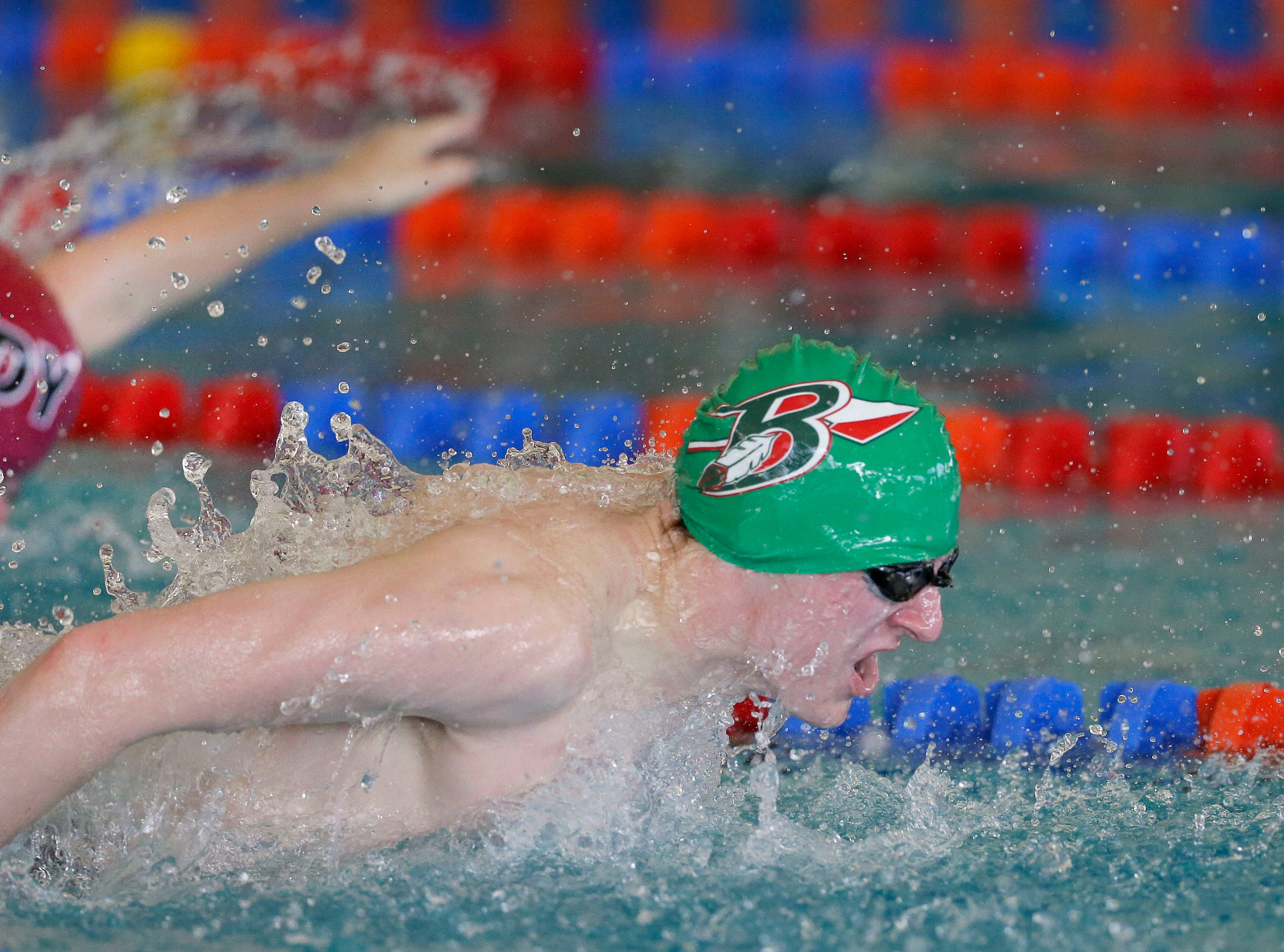 Nathan Wendt of Berlin/Green Lake swims the second leg of the 200 Meter Breast/Fly Relay as the Appleton West Terror Relays Boys Varsity Invitational takes place Saturday, December 8, 2018, at the Zepka Aquatic Center in Appleton, Wis.