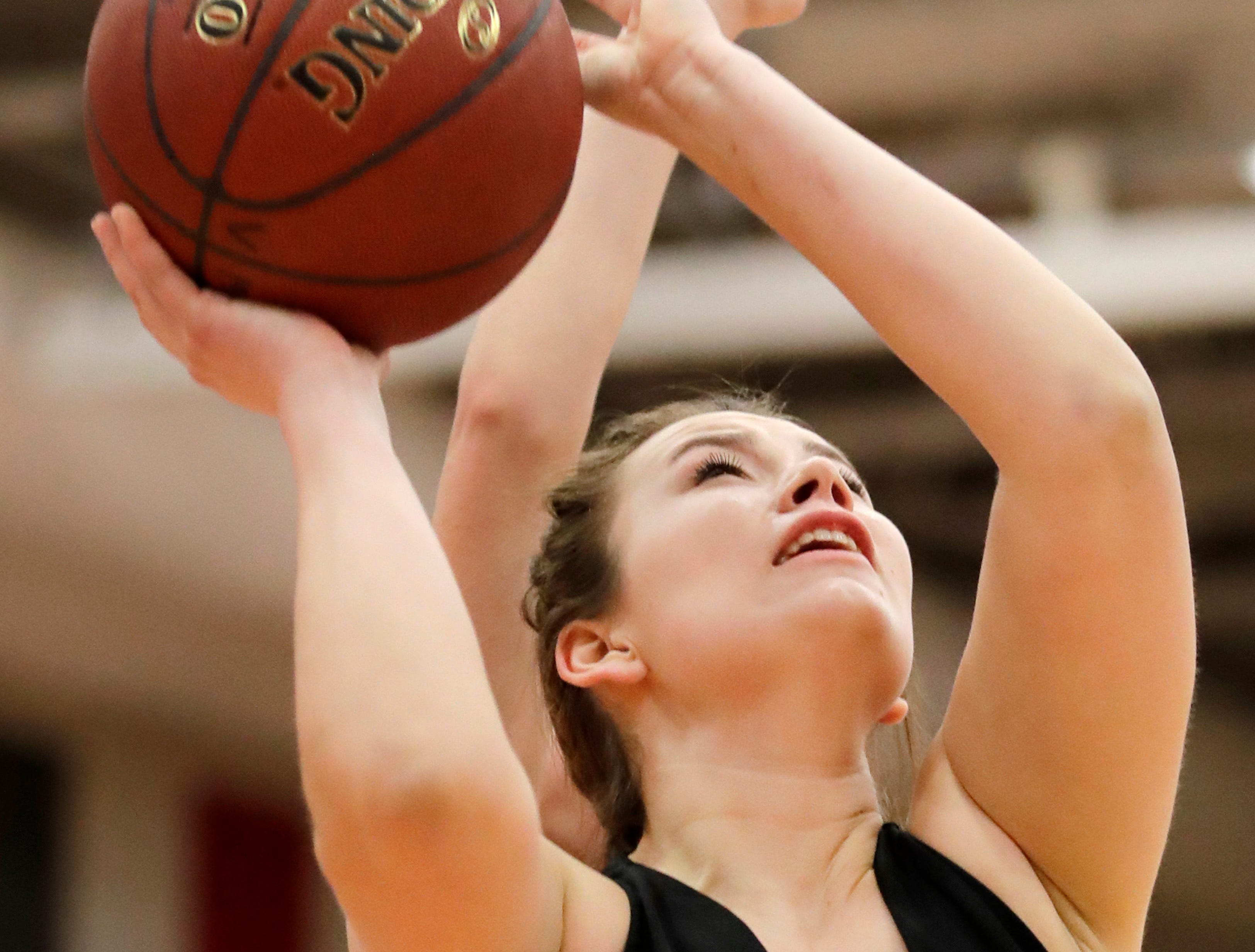 Kaukauna High School's Gabby Djupstrom goes for a shot against Kimberly High School Friday, Dec. 7, 2018, in Kimberly, Wis.Danny Damiani/USA TODAY NETWORK-Wisconsin