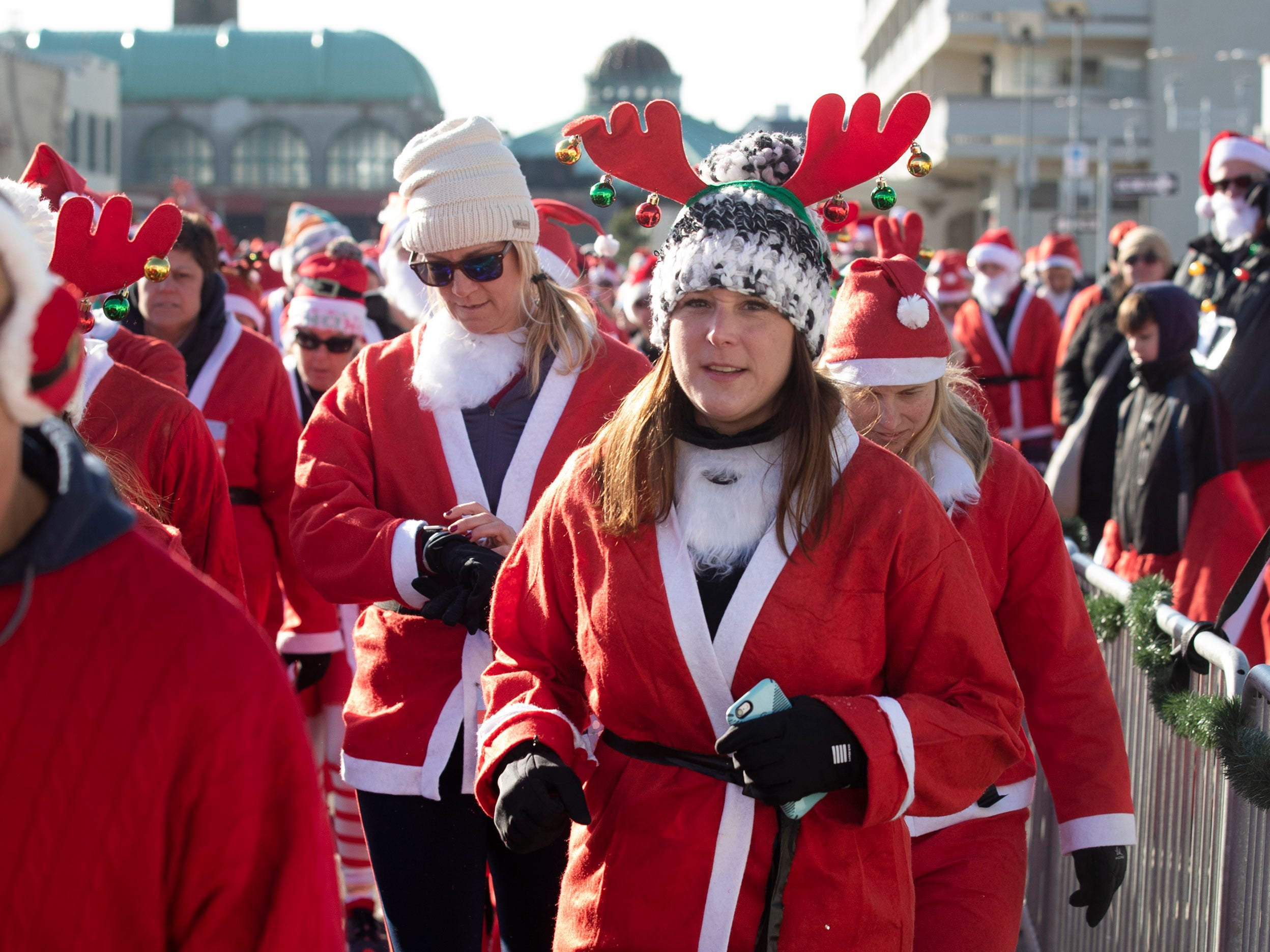 Runners brave the cold to participate in the annual Santa Run 5K in Asbury Park on December 8, 2018.