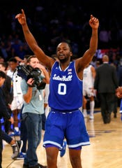 Seton Hall Pirates guard Quincy McKnight (0) celebrates after defeating Kentucky 84-83 in overtime.