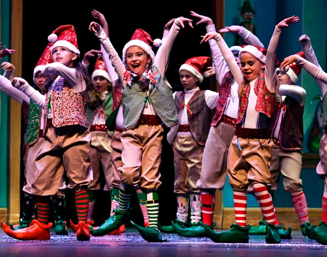 "Elves from Santa's Workshop perform during rehearsal Friday for ""Once Upon a Christmas Eve."" The show, performed by the Patty Harper Dance Studio, begins at 7 p.m. Saturday and winds up with a 2 p.m. Sunday performance at the Abilene Convention Center."