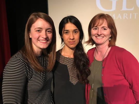 From left, Hannah Sims, Nadia Murad and Suzanne Sims during Murad's visit to Abilene in April 2017.