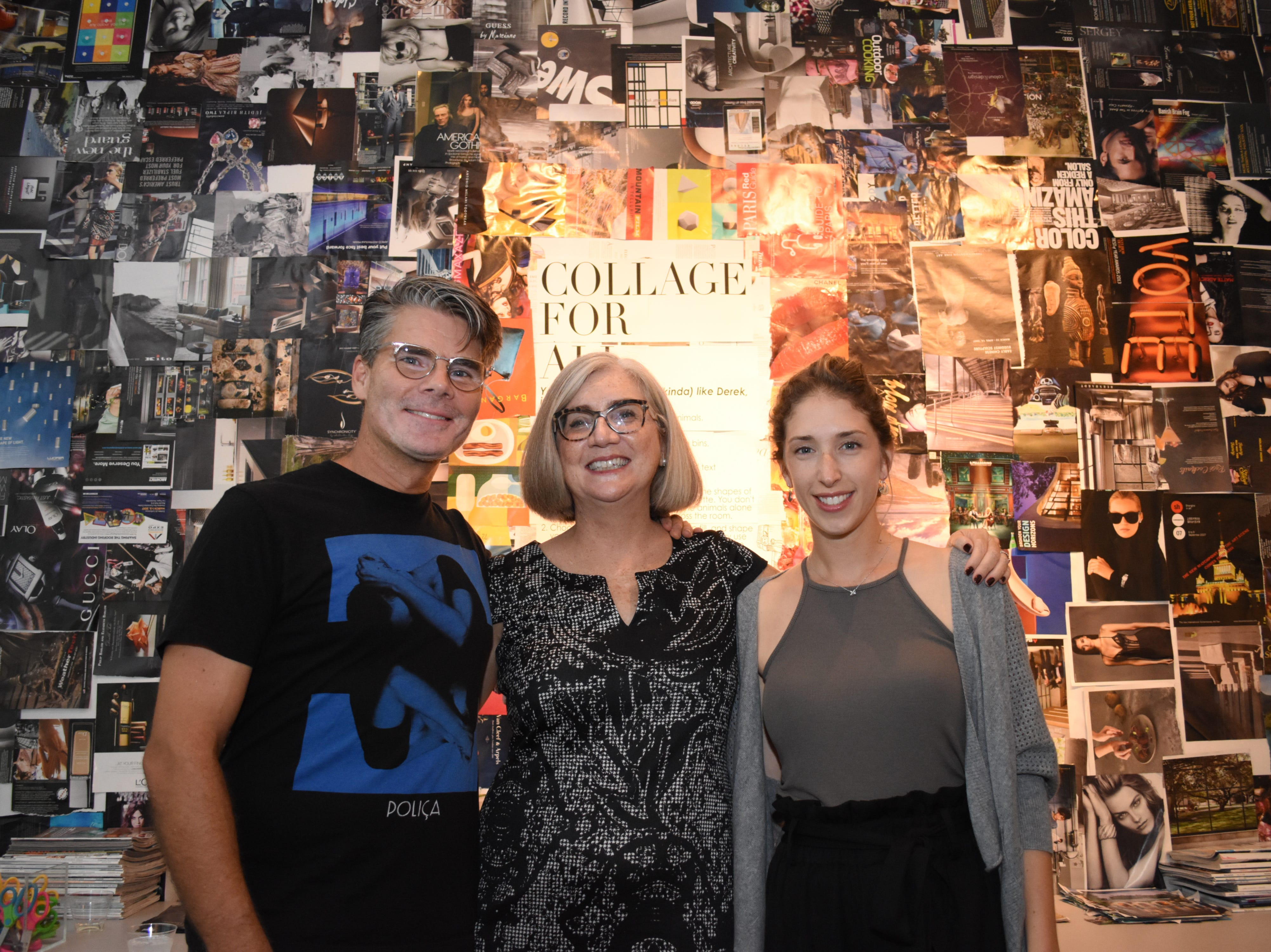 Artist Derek Gores, Carla Funk Director of Art Museum, and Serine McGroarty,  the curator of Derek's showing at Foosaner Art Museum.