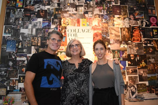 Artist Derek Gores; Carla Funk, museum director; and Serene McGroarty, curator of Gore's work, are pictured at a 2018 retrospective of Gores' work at Foosaner Art Museum.