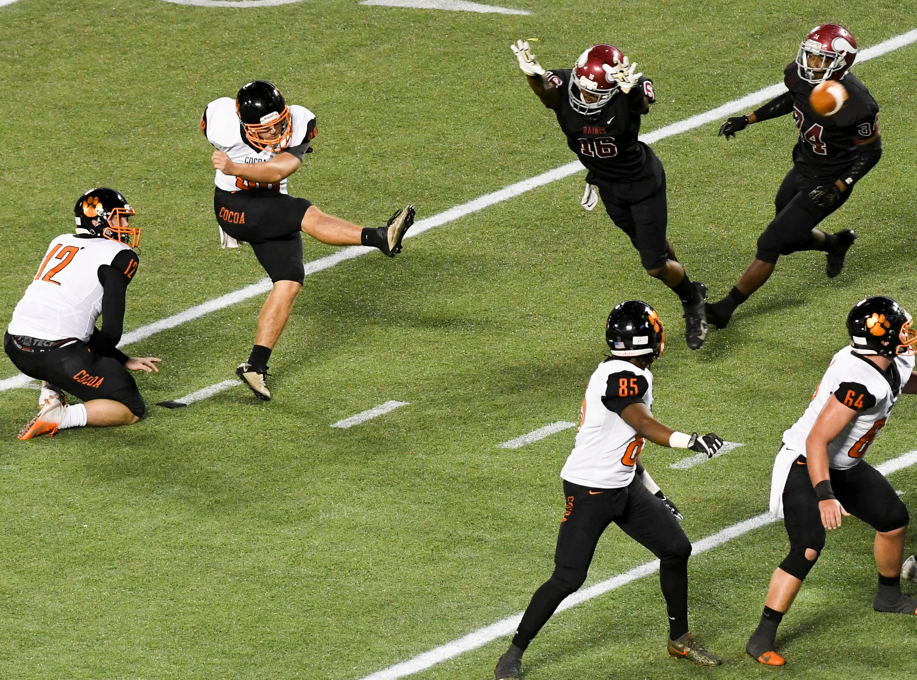 Cocoa's Alex Petruzzello attempts a field goal during Thursday's Class 4A football state championship game.