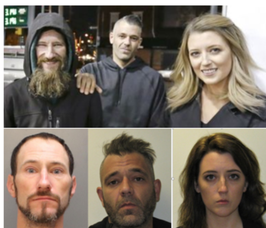 Johnny Bobbitt Jr., left, is shown with Mark D'Amico and Katelyn McClure before and after their arrest on theft charges.