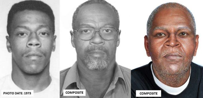 Lester Eubanks shown in a 1973 photo and two age-progression photos released by the U.S. Marshals Service in 2017.