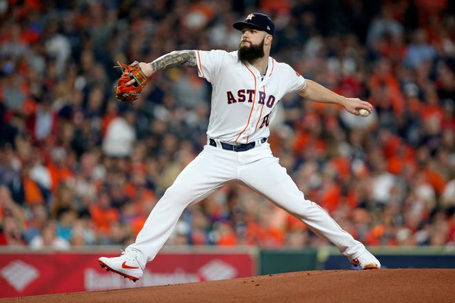 Oct 16, 2018; Houston, TX, USA; Houston Astros starting pitcher Dallas Keuchel (60) delivers a pitch in the first inning against the Boston Red Sox in game three of the 2018 ALCS playoff baseball series at Minute Maid Park. Mandatory Credit: Troy Taormina-USA TODAY Sports