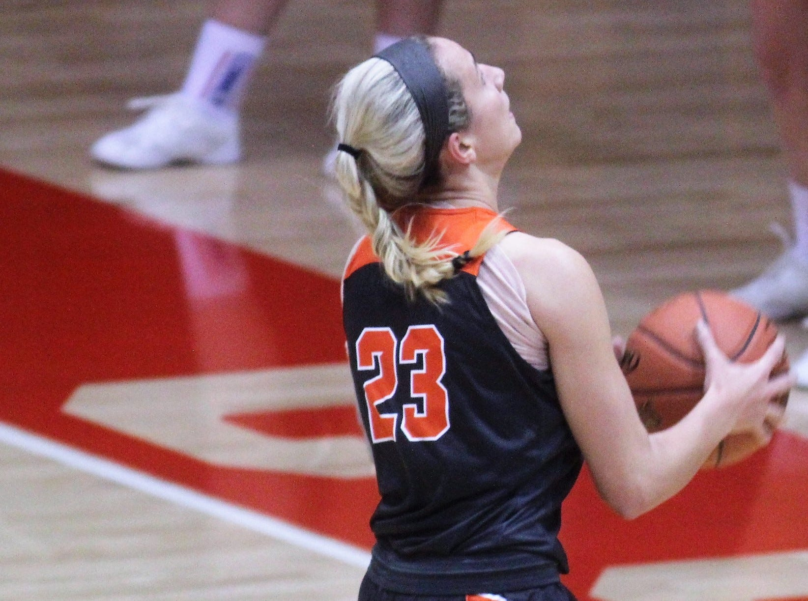 Ryle sophomore Brie Crittendon goes up to score a layup as Ryle defeated Conner 60-49 in a girls basketball district game Dec. 7, 2018 at Conner High School, Hebron KY.
