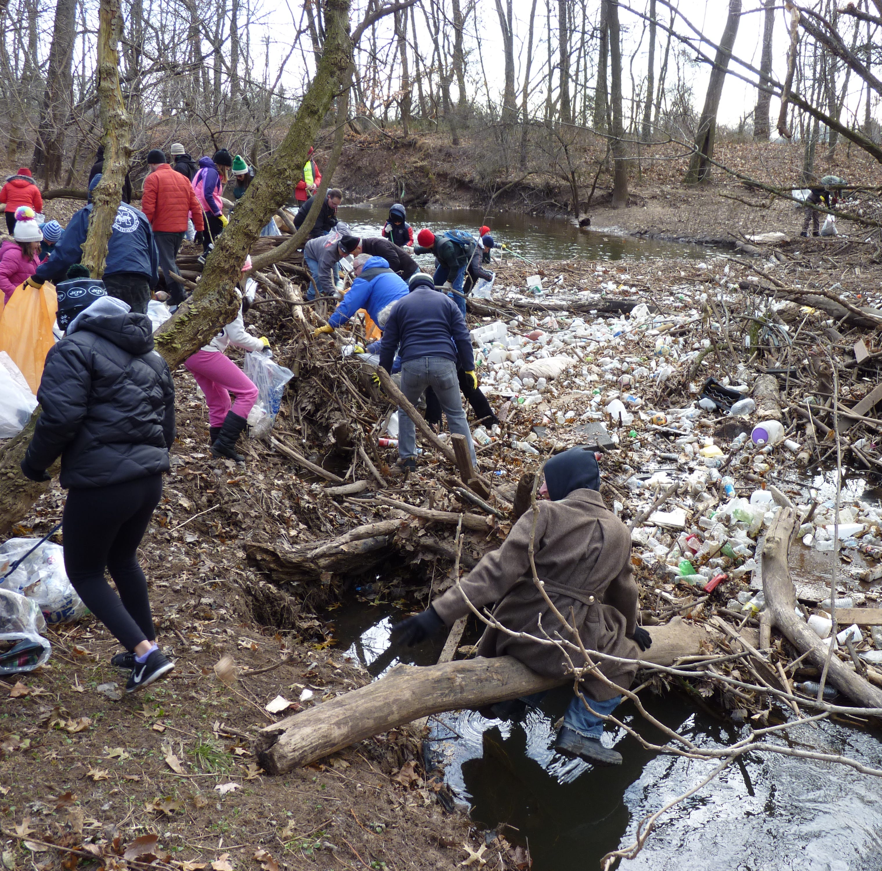 More than 100 volunteers pick up pollution in the Green Brook