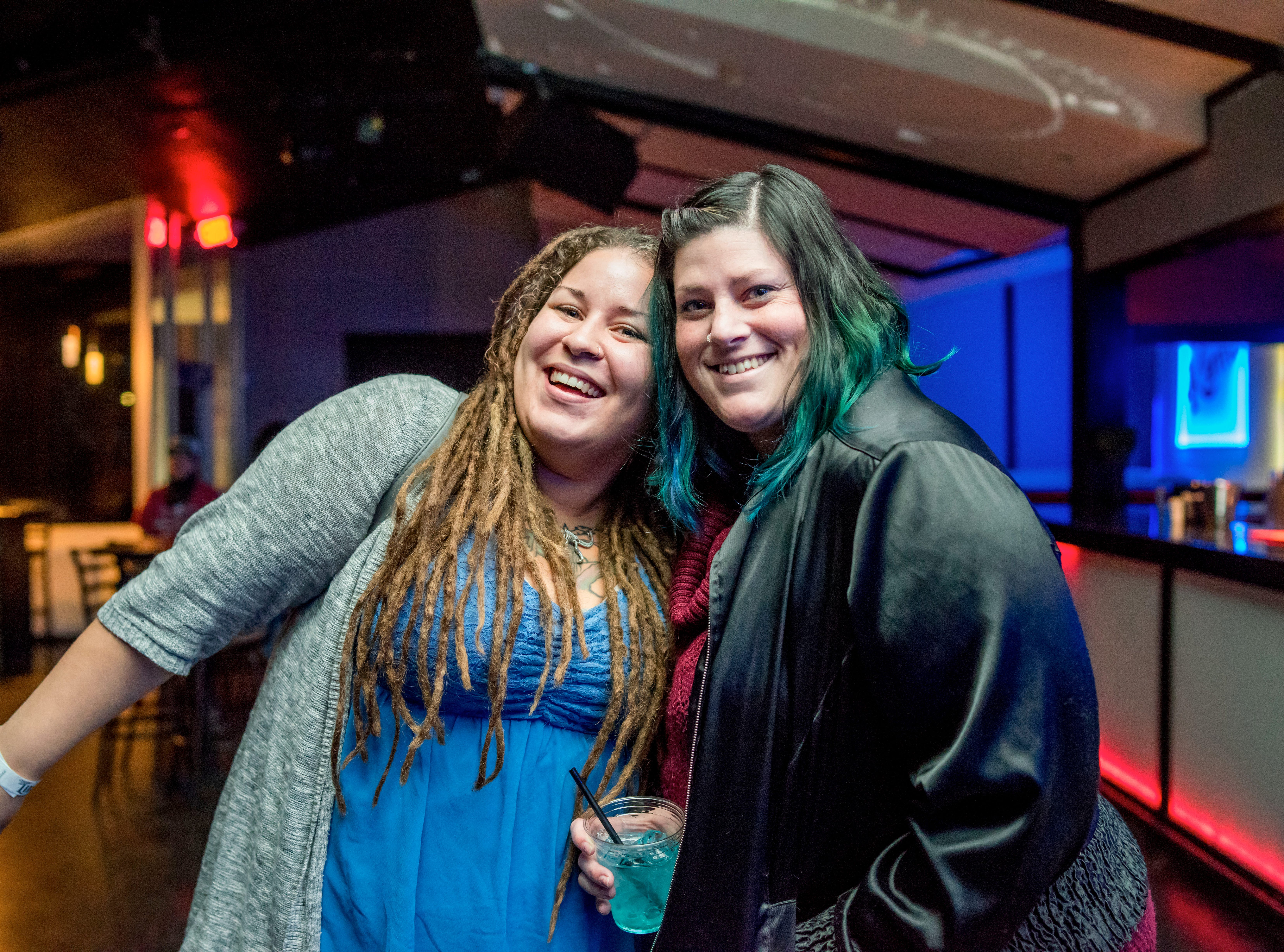 Alix Castle, 32, and Michaela Cobb, 30, both of Des Moines, enjoying their night, Friday, Dec. 7, at Beat Experiments, hosted by Karma.